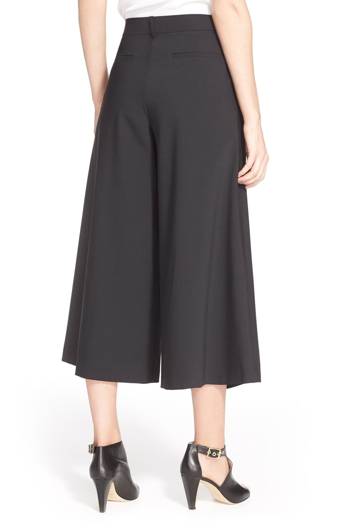 TIBI, Pleated Silk Culottes, Alternate thumbnail 3, color, 001