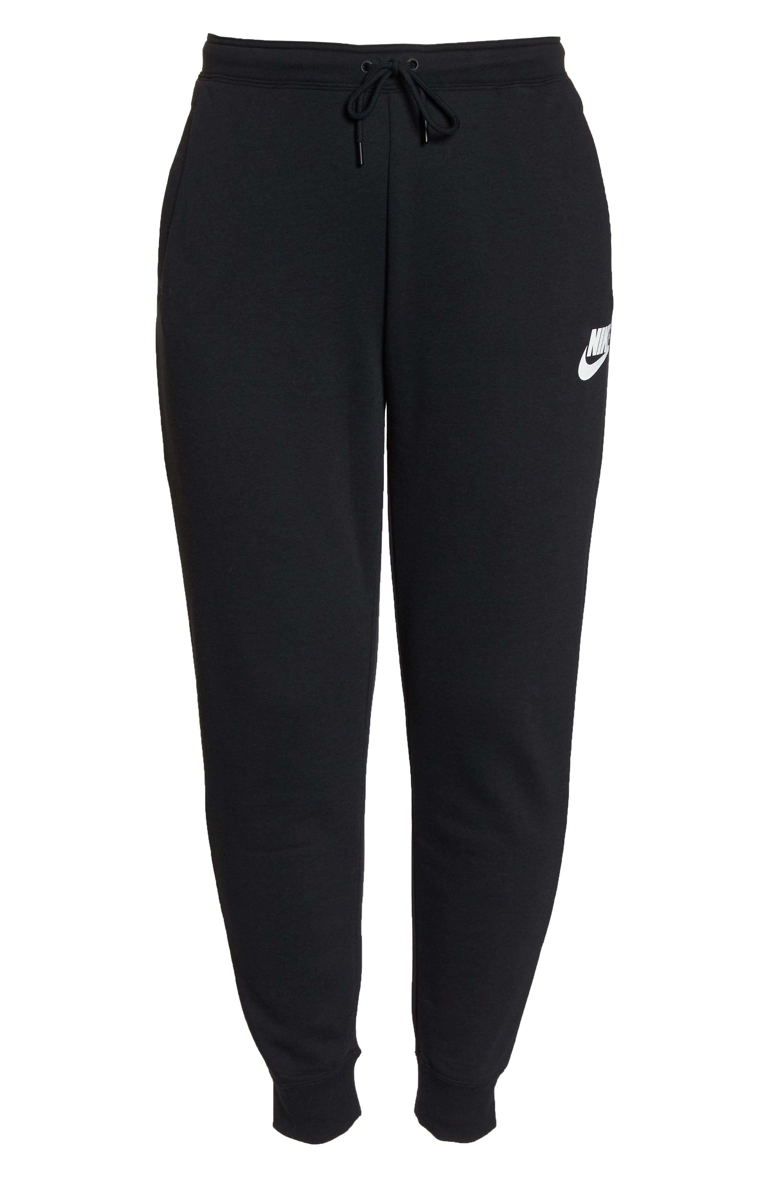 NIKE, Sportswear Rally High Rise Jogger Pants, Alternate thumbnail 7, color, BLACK/ BLACK/ WHITE