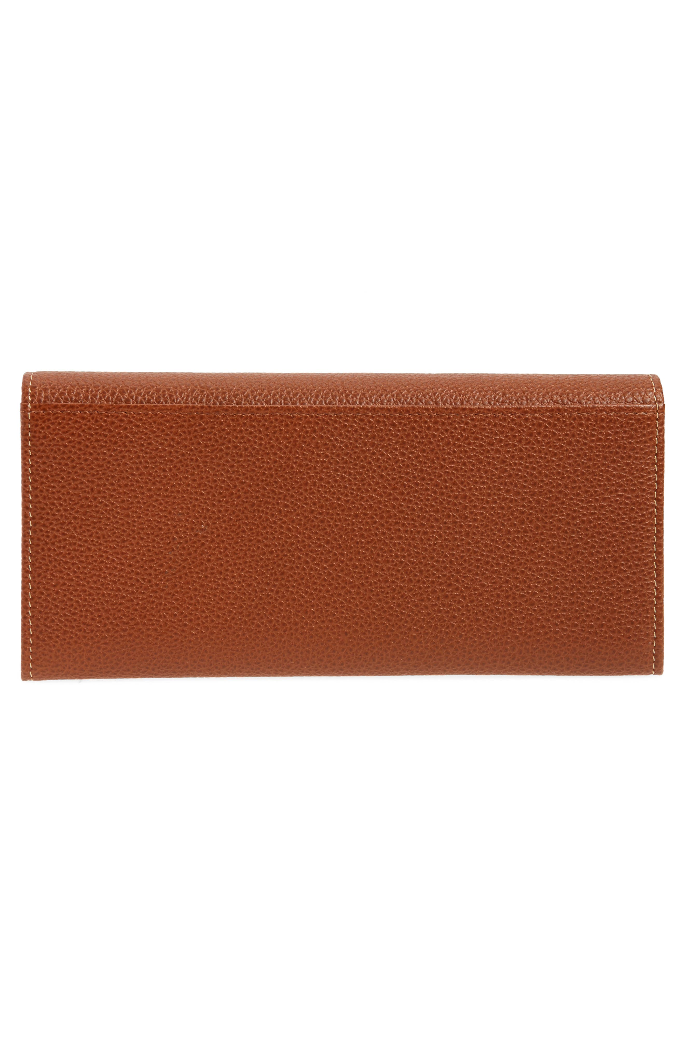 LONGCHAMP, 'Veau' Continental Wallet, Alternate thumbnail 3, color, COGNAC