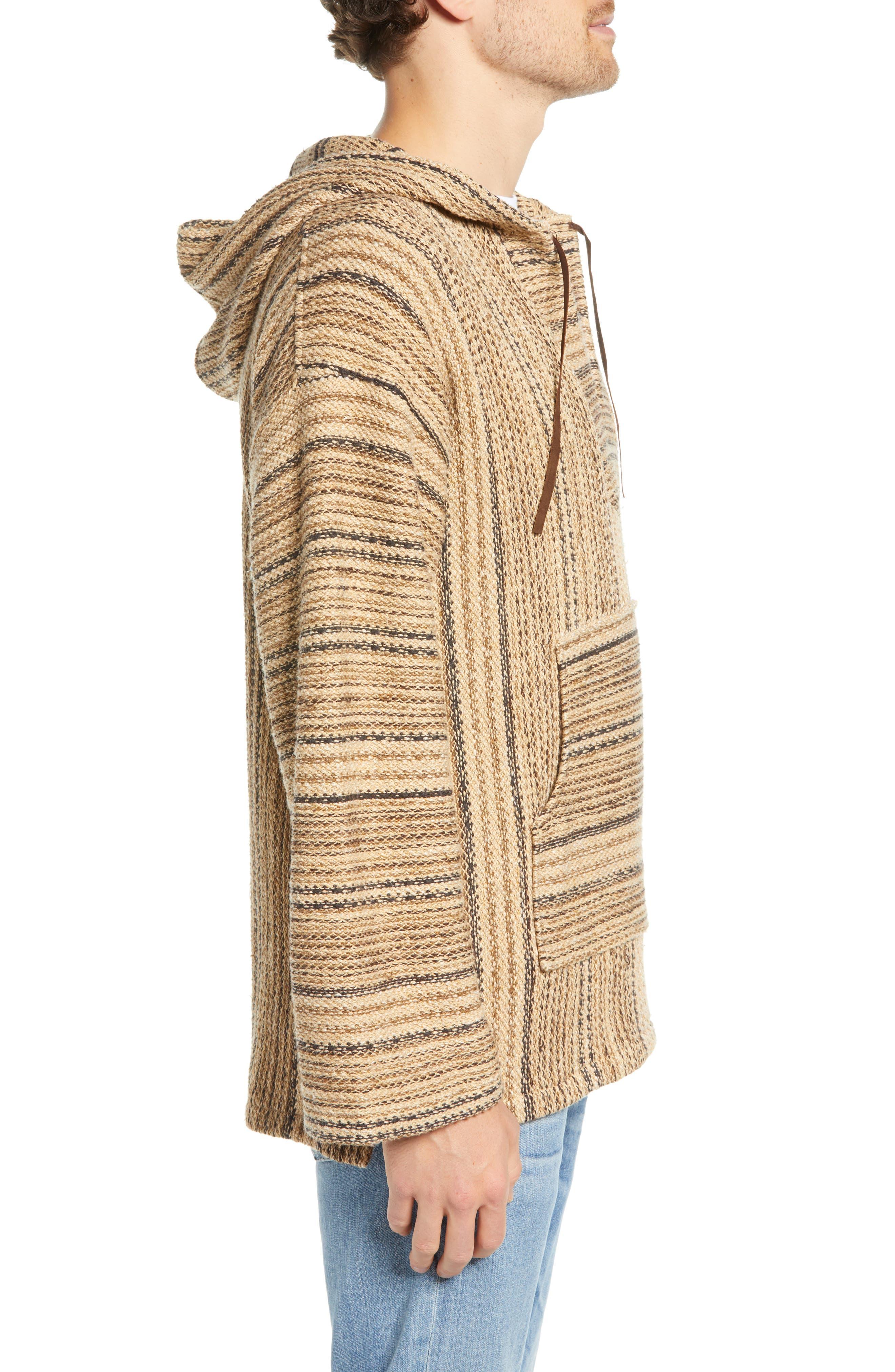 FRYE, Baja Hooded Pullover, Alternate thumbnail 3, color, TAOS TAUPE STRIPE