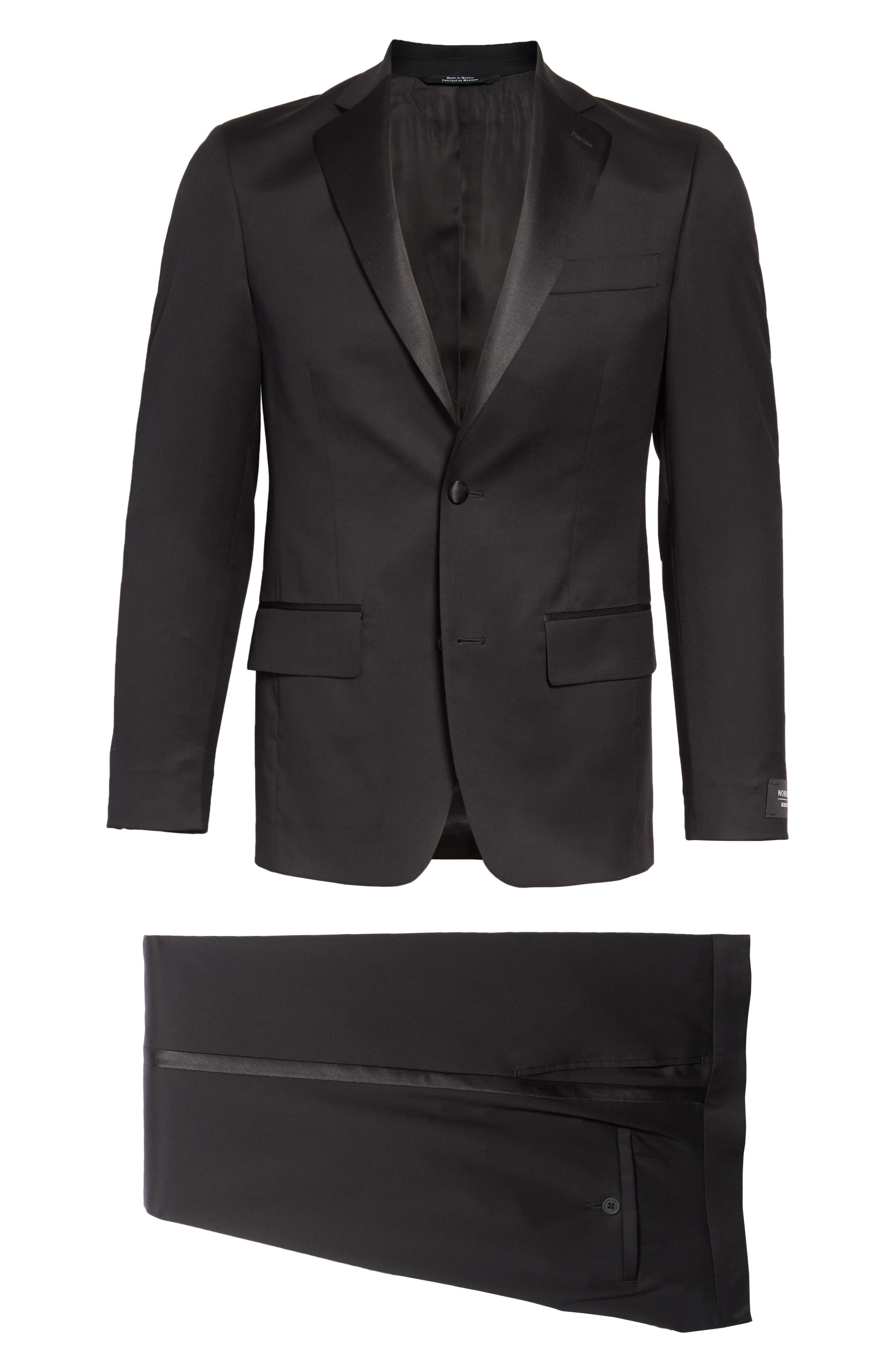 NORDSTROM MEN'S SHOP, Trim Fit Wool Tuxedo, Alternate thumbnail 5, color, BLACK