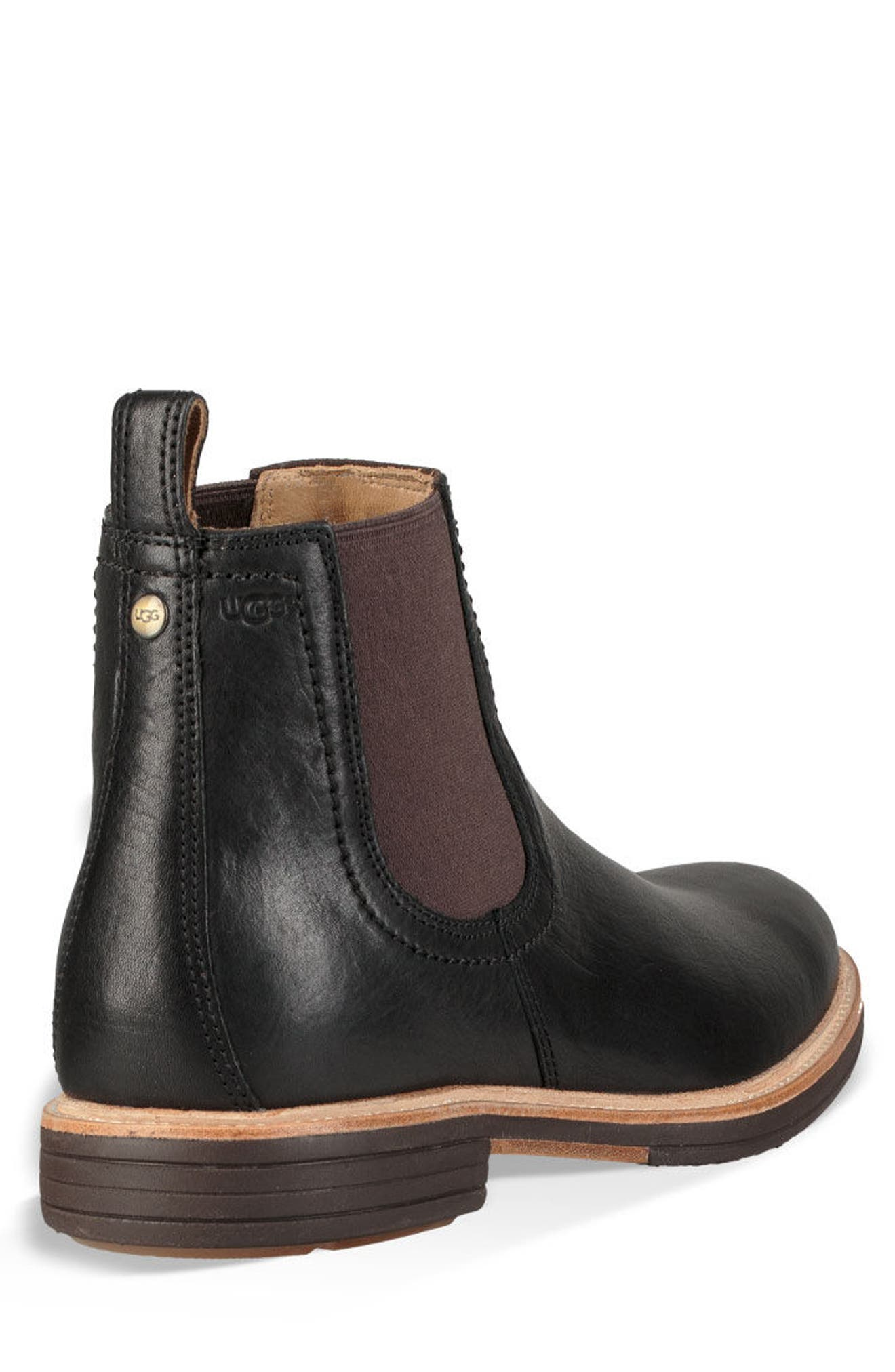 UGG<SUP>®</SUP>, Baldvin Chelsea Boot, Alternate thumbnail 2, color, BLACK LEATHER/SUEDE
