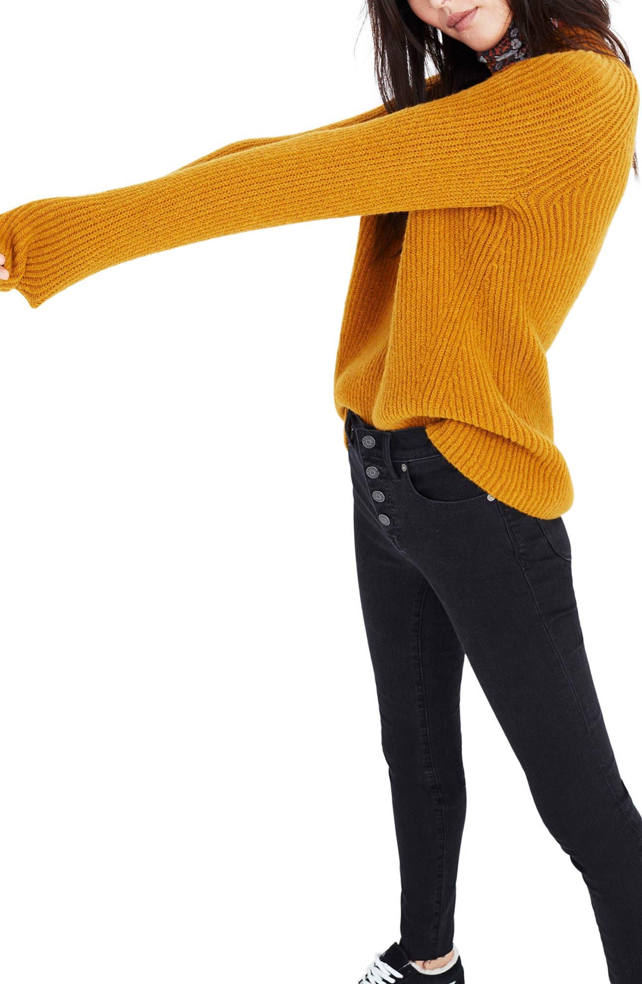 MADEWELL, Northfield Mock Neck Sweater, Alternate thumbnail 3, color, 800