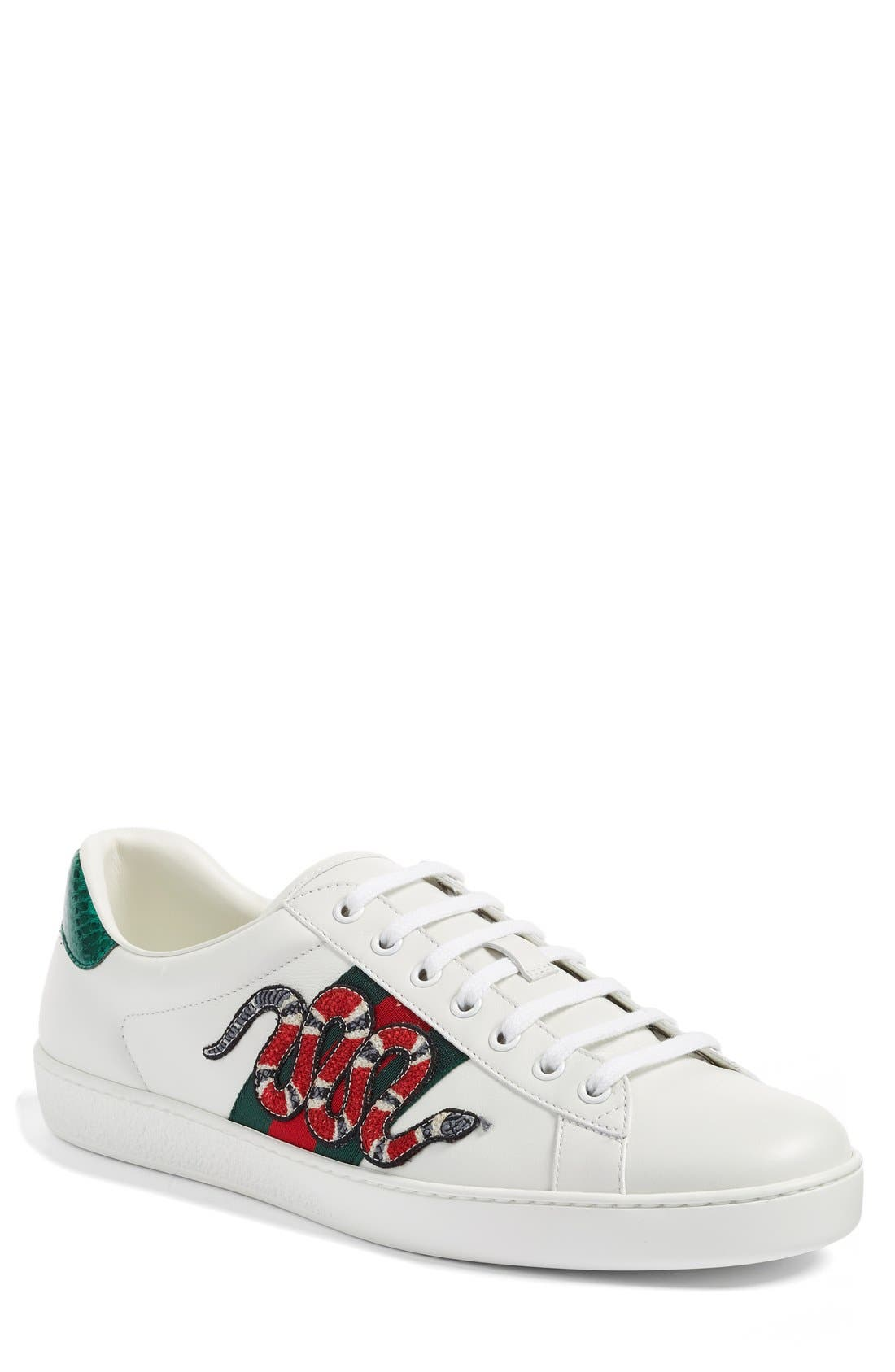 GUCCI, 'New Ace' Sneaker, Main thumbnail 1, color, BIANCO LEATHER