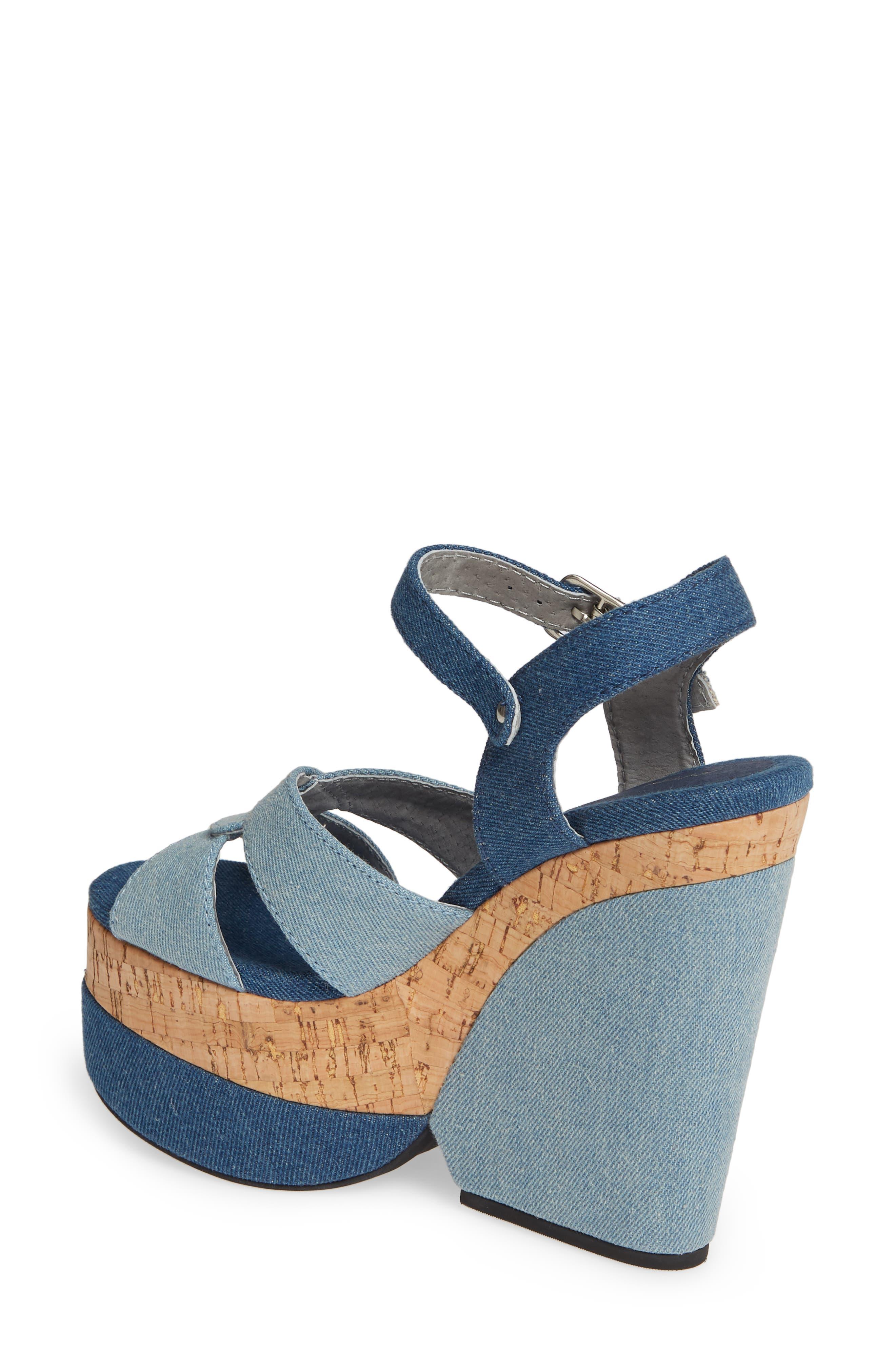 JEFFREY CAMPBELL, Wedge Platform Sandal, Alternate thumbnail 2, color, BLUE DENIM COMBO/ CORK