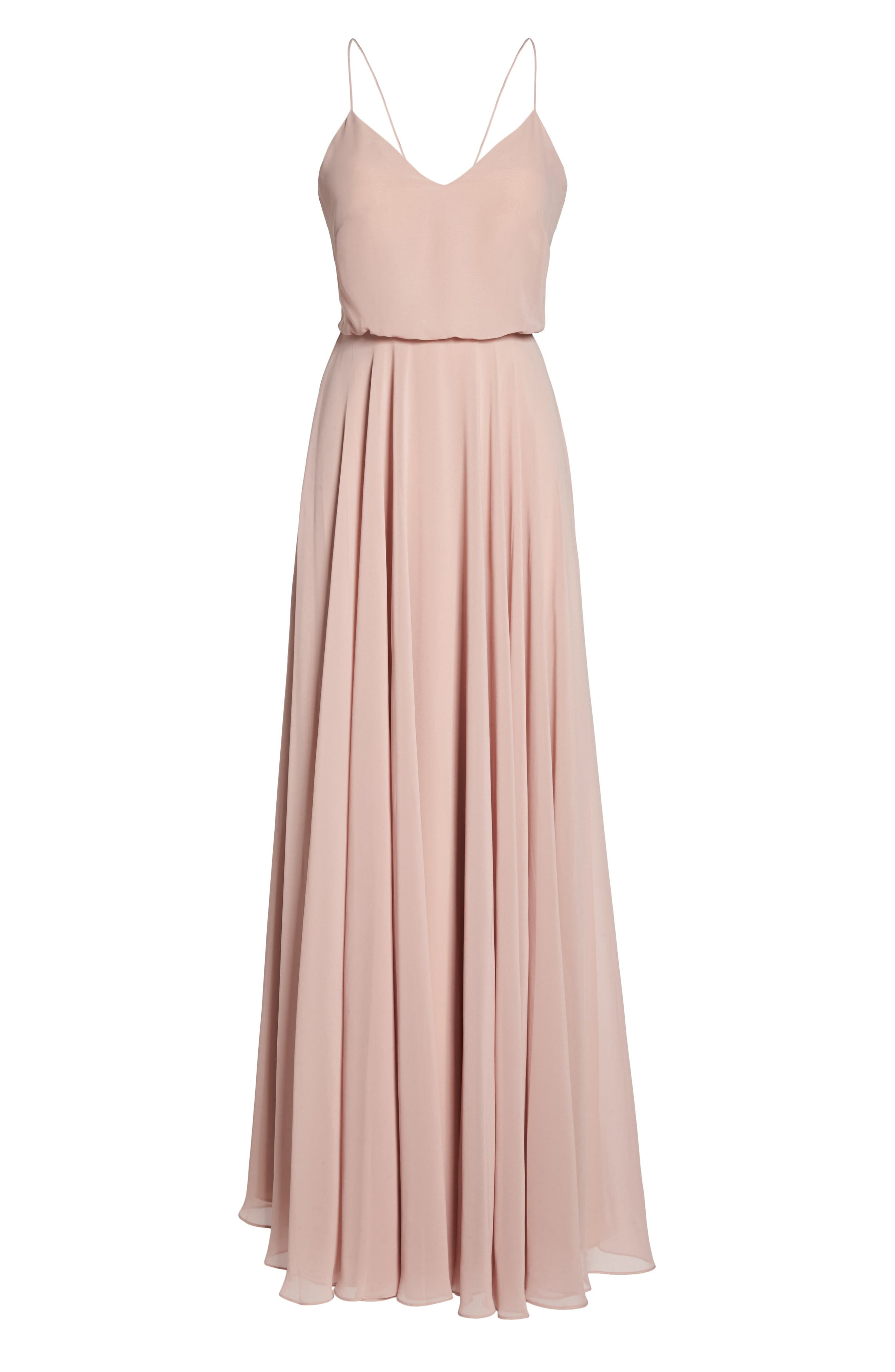 JENNY YOO, Inesse Chiffon V-Neck Spaghetti Strap Gown, Alternate thumbnail 7, color, WHIPPED APRICOT