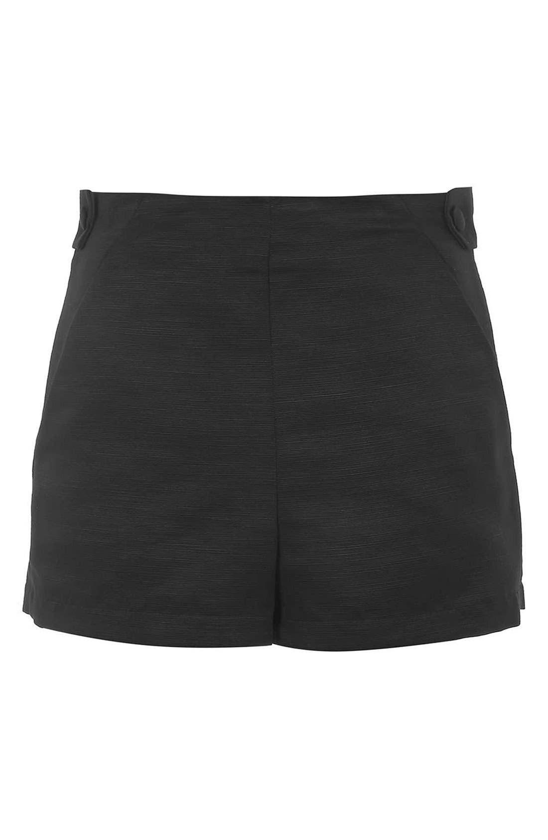 TOPSHOP, High Rise Button Tab Shorts, Alternate thumbnail 3, color, 001