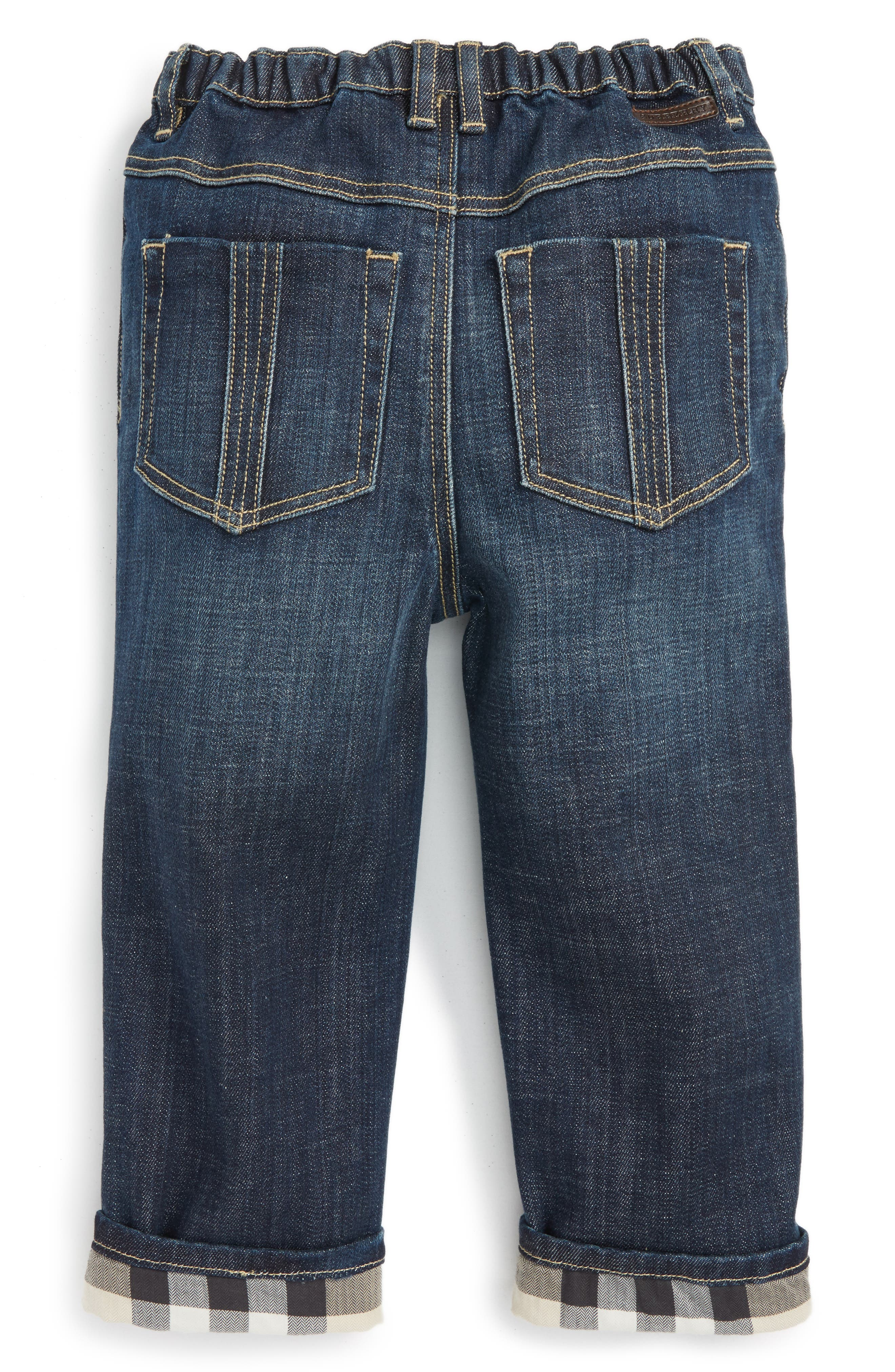 BURBERRY, Pierre Check Lined Jeans, Main thumbnail 1, color, 400
