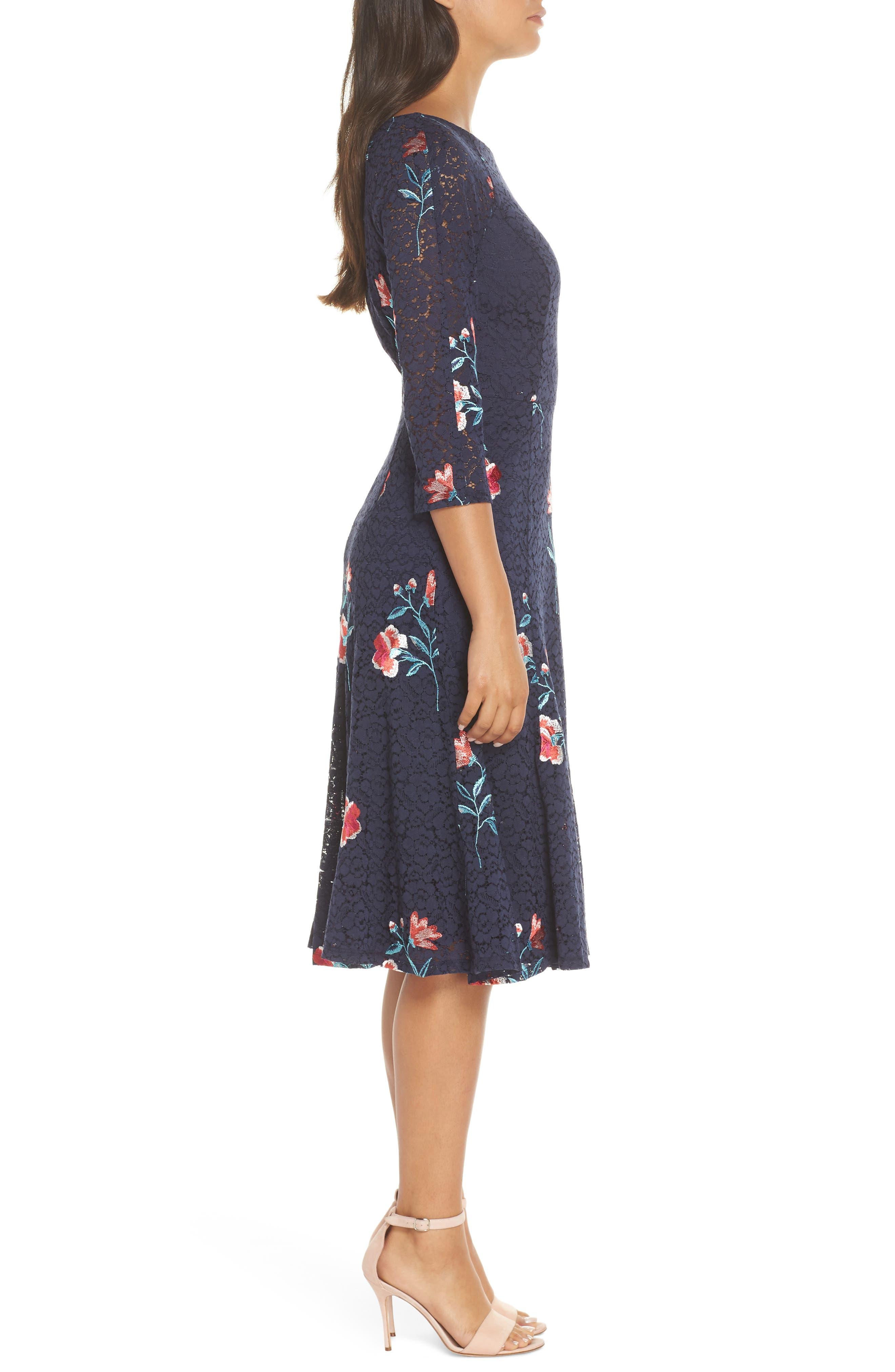 ELIZA J, Embroidery & Lace A-Line Dress, Alternate thumbnail 4, color, NAVY