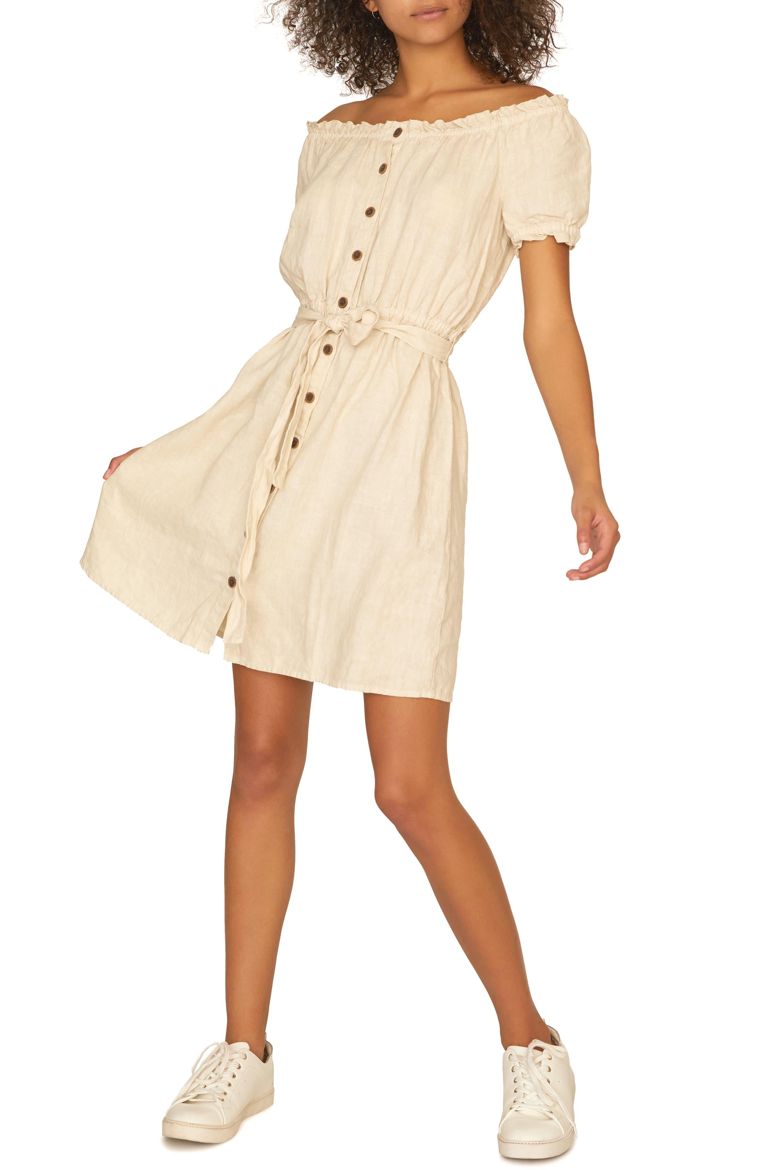 SANCTUARY Washed Linen Off the Shoulder Peasant Dress, Main, color, WASHED PEBBLE