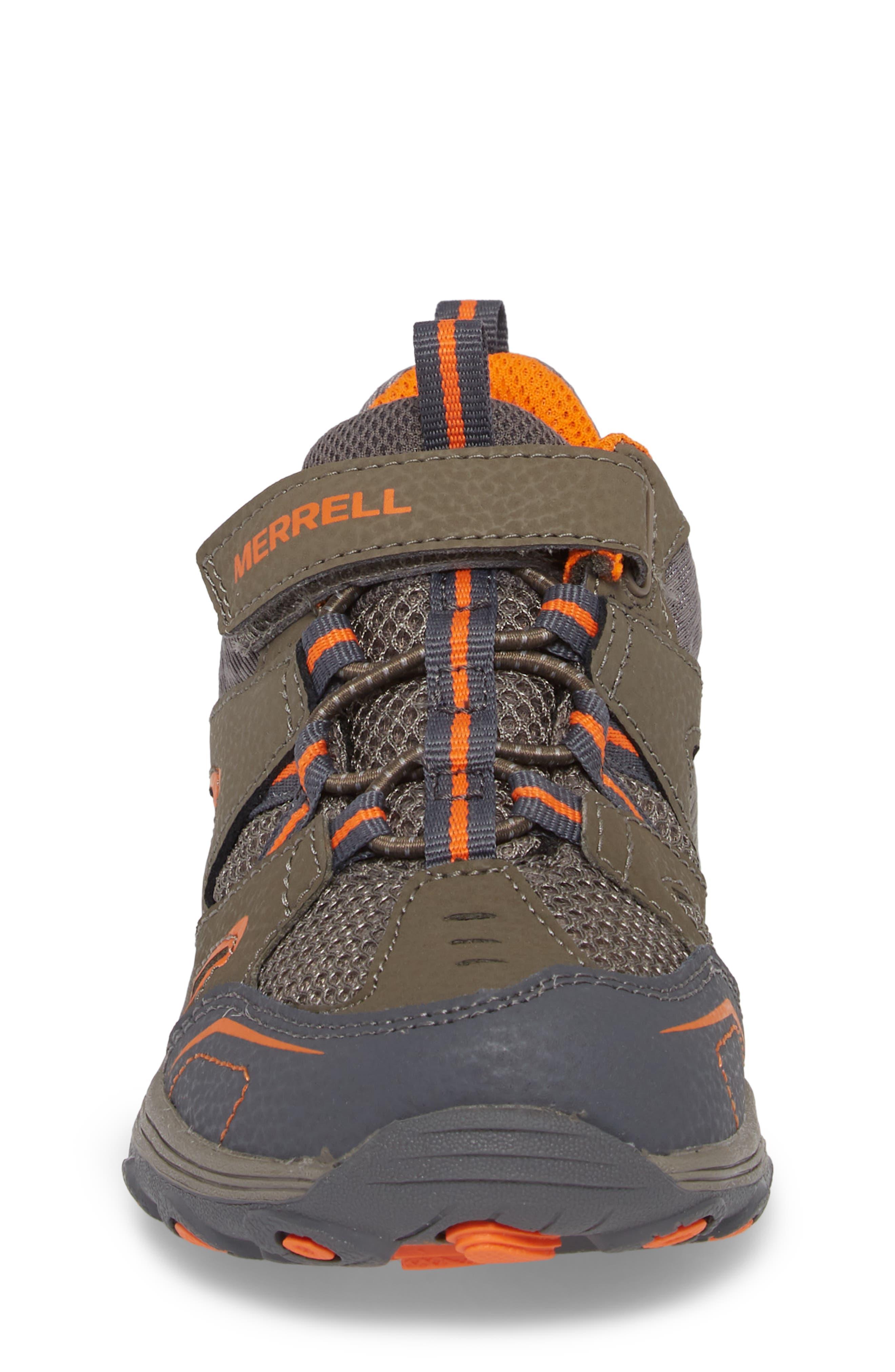MERRELL, Trail Chaser Sneaker, Alternate thumbnail 4, color, GUNSMOKE/ ORANGE