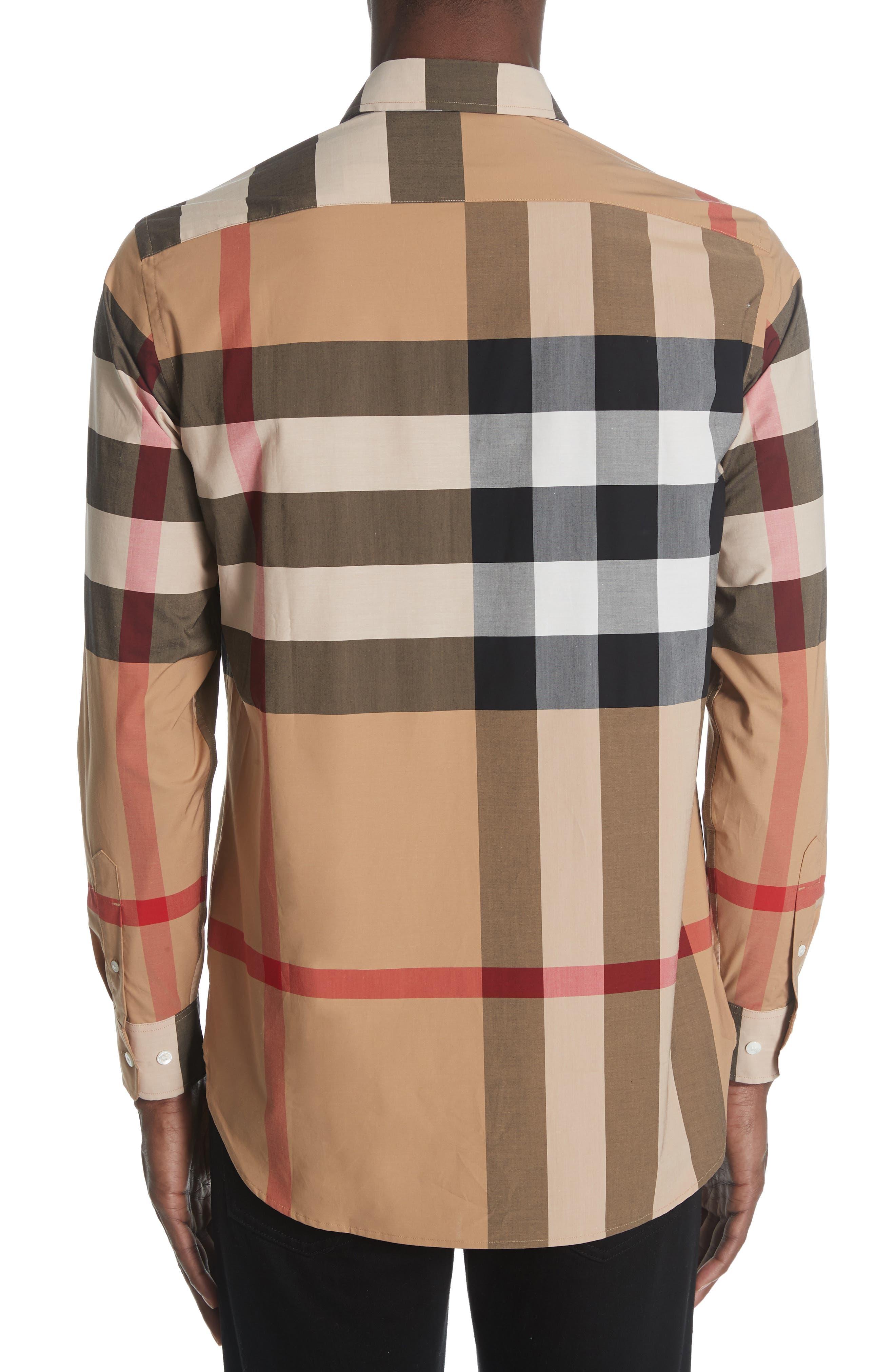 BURBERRY, Windsor Check Sport Shirt, Alternate thumbnail 3, color, CAMEL