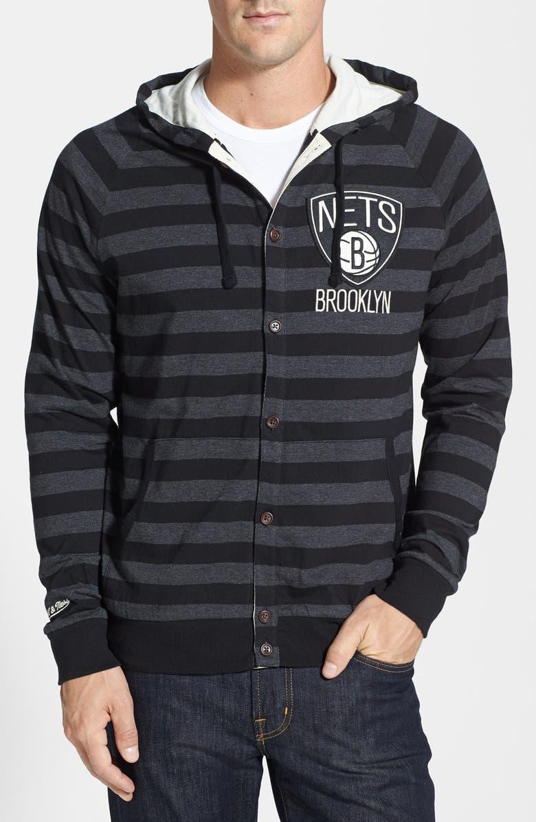 dd390f0d4 MITCHELL & NESS 'Brooklyn Nets' Stripe Button Front Jersey Hoodie, Main, ...