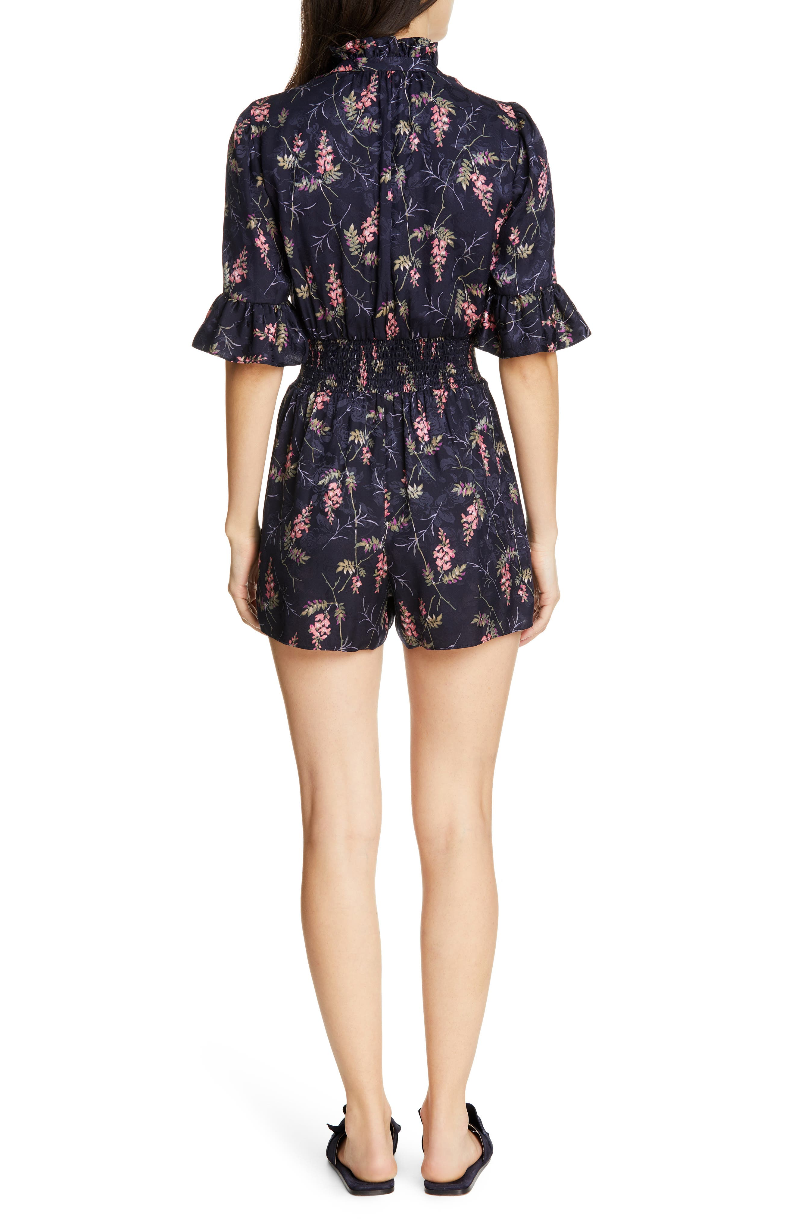 REBECCA TAYLOR, Ivie Floral Silk Blend Romper, Alternate thumbnail 2, color, NAVY COMBO