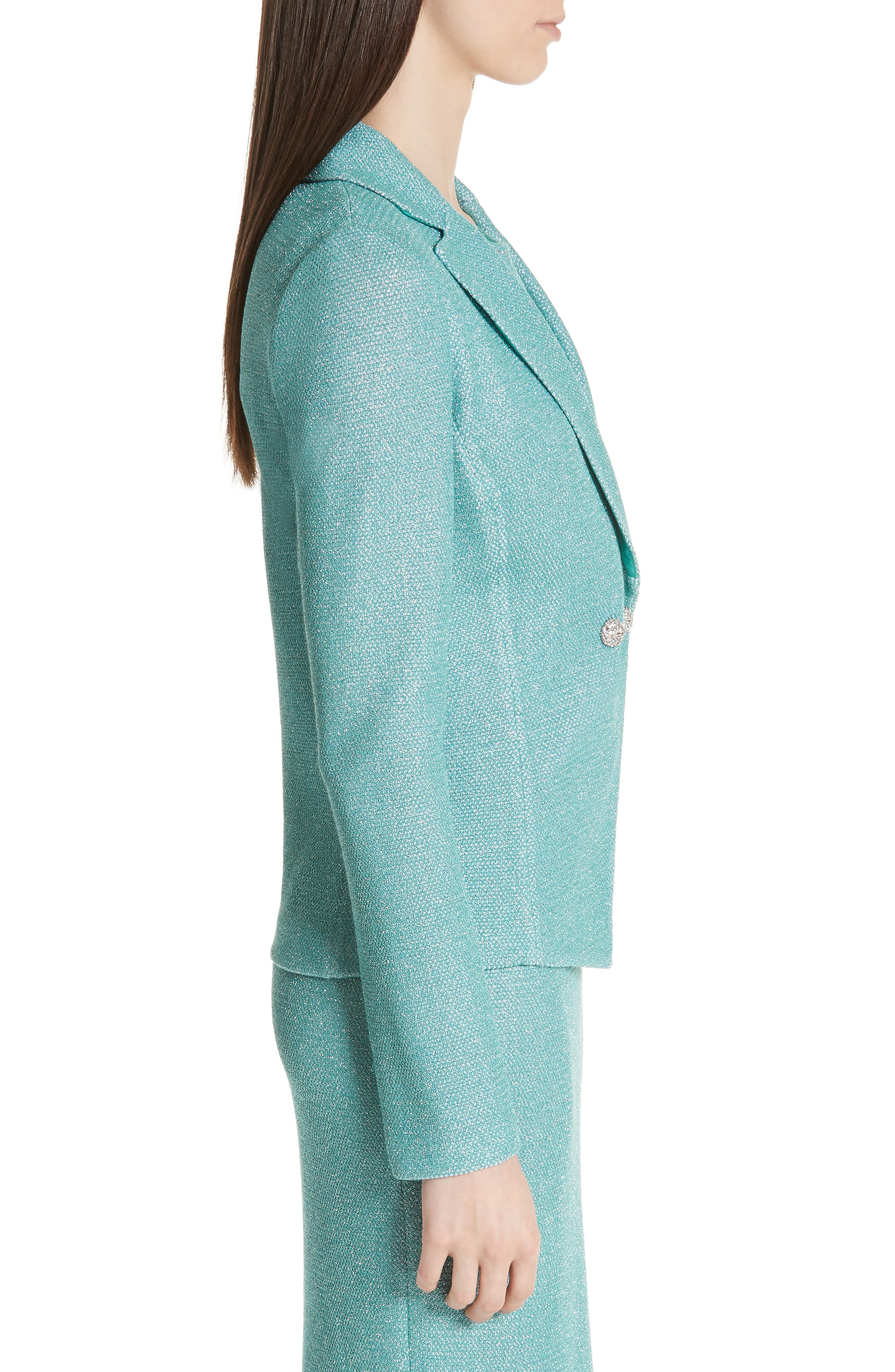 ST. JOHN COLLECTION, Bailey Knit Double Breasted Blazer, Alternate thumbnail 4, color, LAGOON