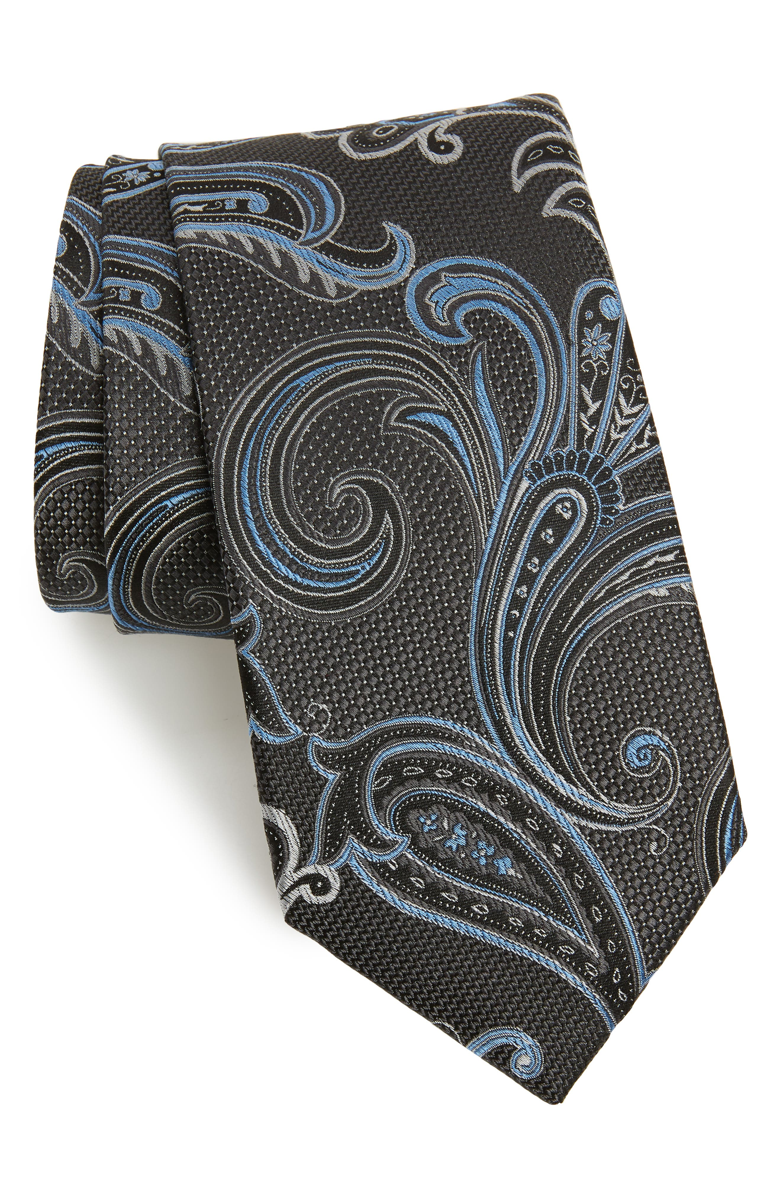 NORDSTROM MEN'S SHOP, Bryce Paisley Silk X-Long Tie, Main thumbnail 1, color, CHARCOAL