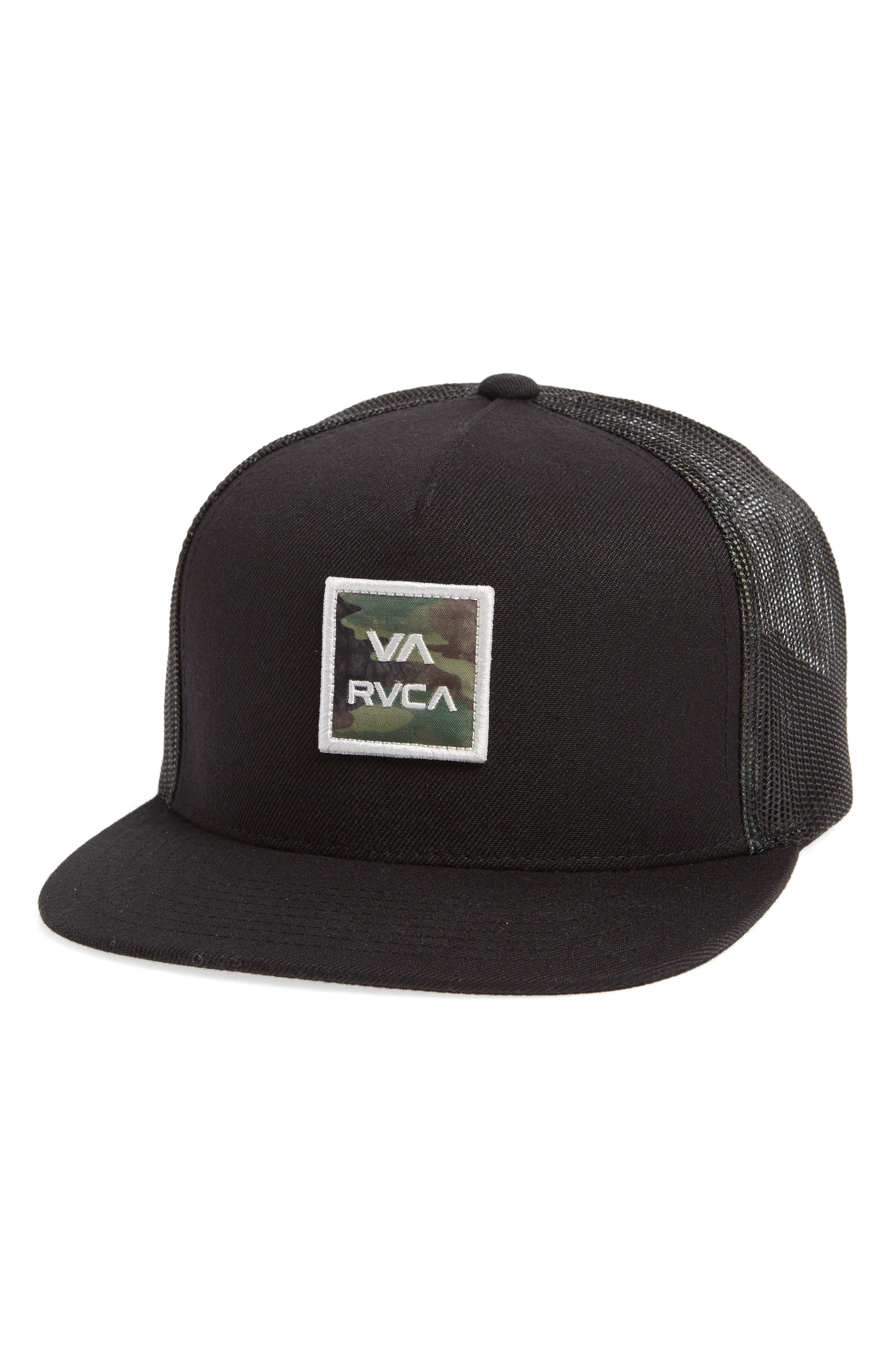 RVCA, VA All the Way Trucker Hat, Main thumbnail 1, color, 001
