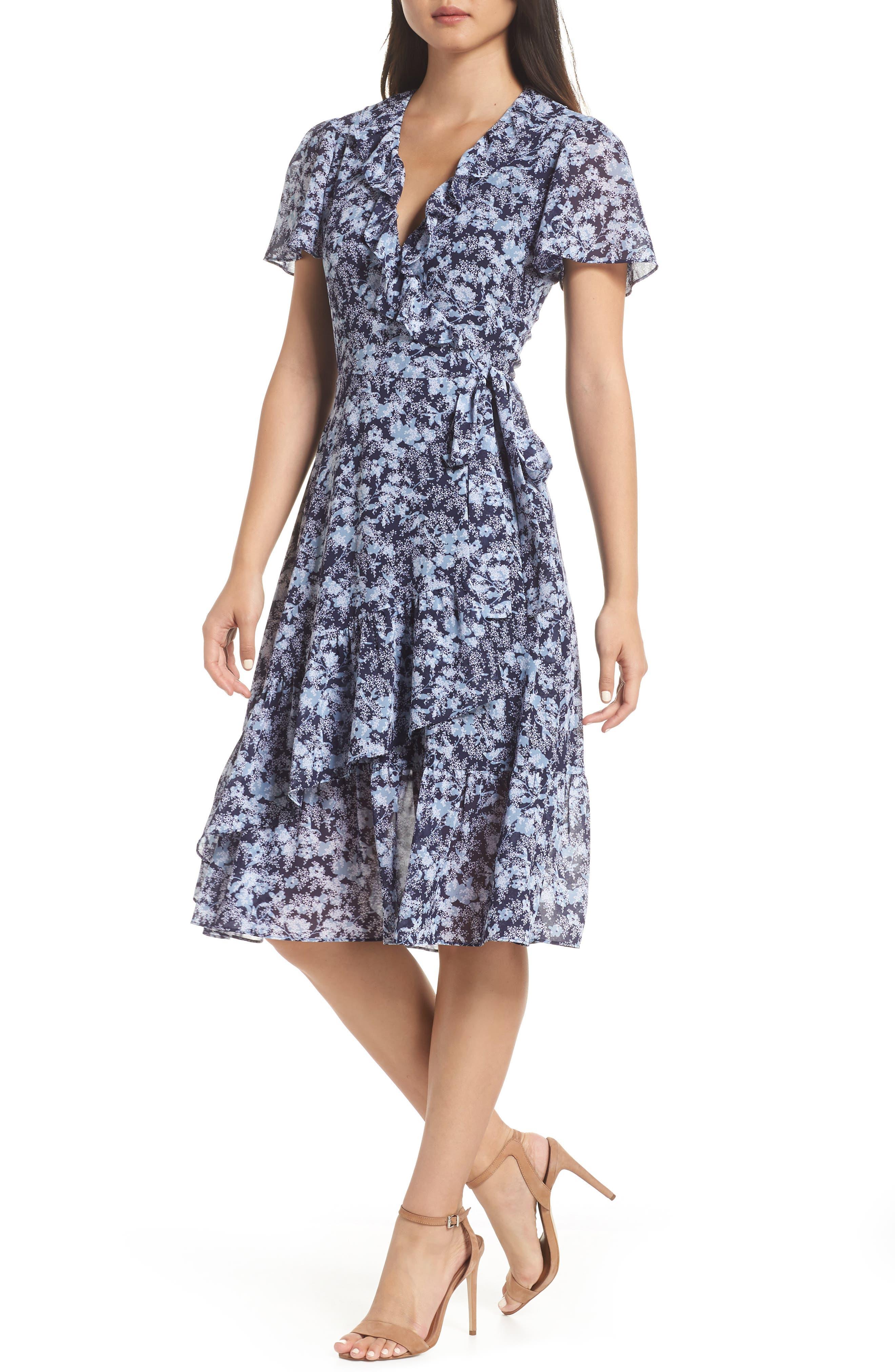 MICHAEL MICHAEL KORS, Ruffle Wrap Dress, Main thumbnail 1, color, TRUE NAVY/CHAMBRAY