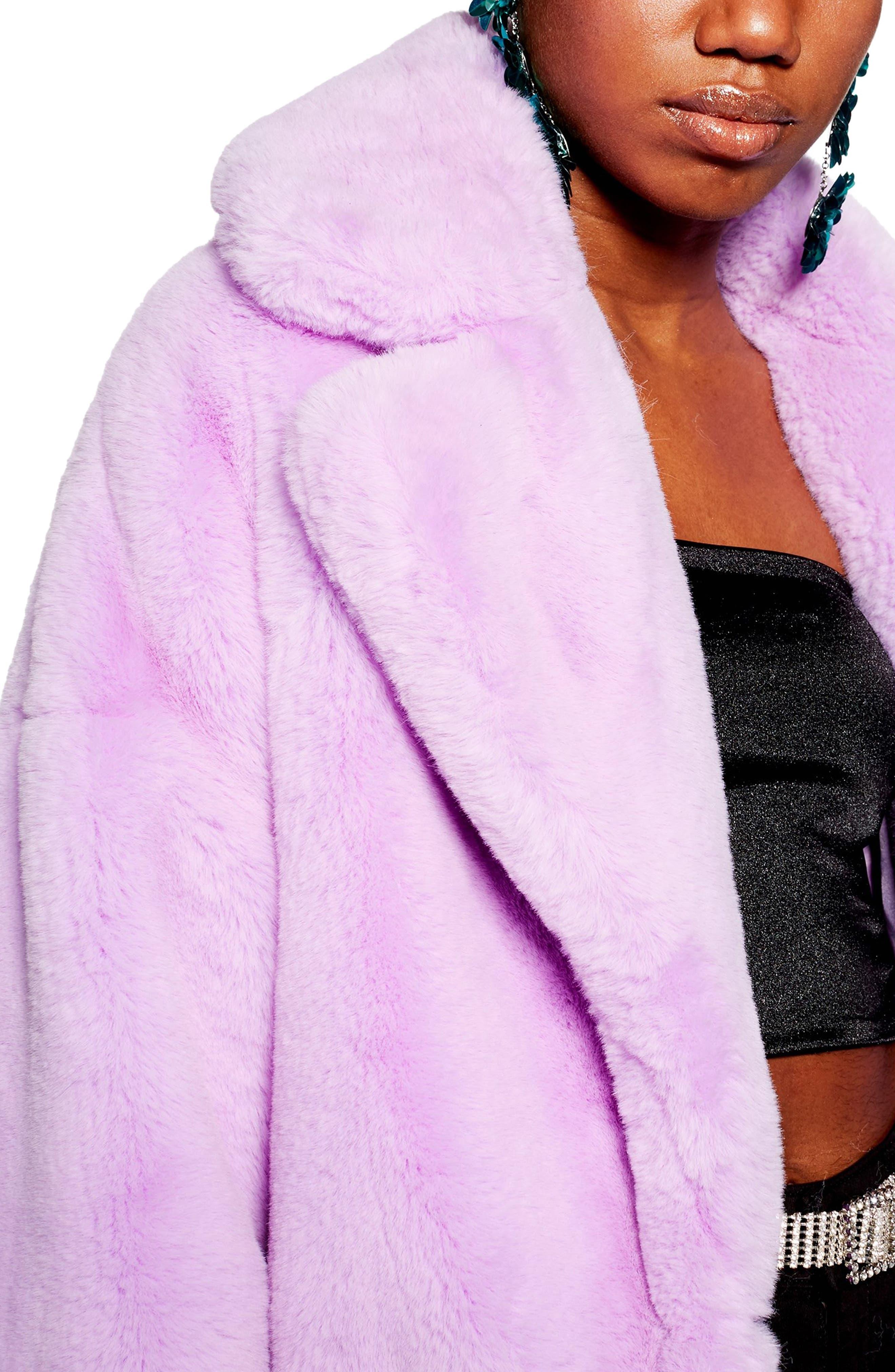 TOPSHOP, Anoushka Faux Fur Coat, Alternate thumbnail 4, color, 530