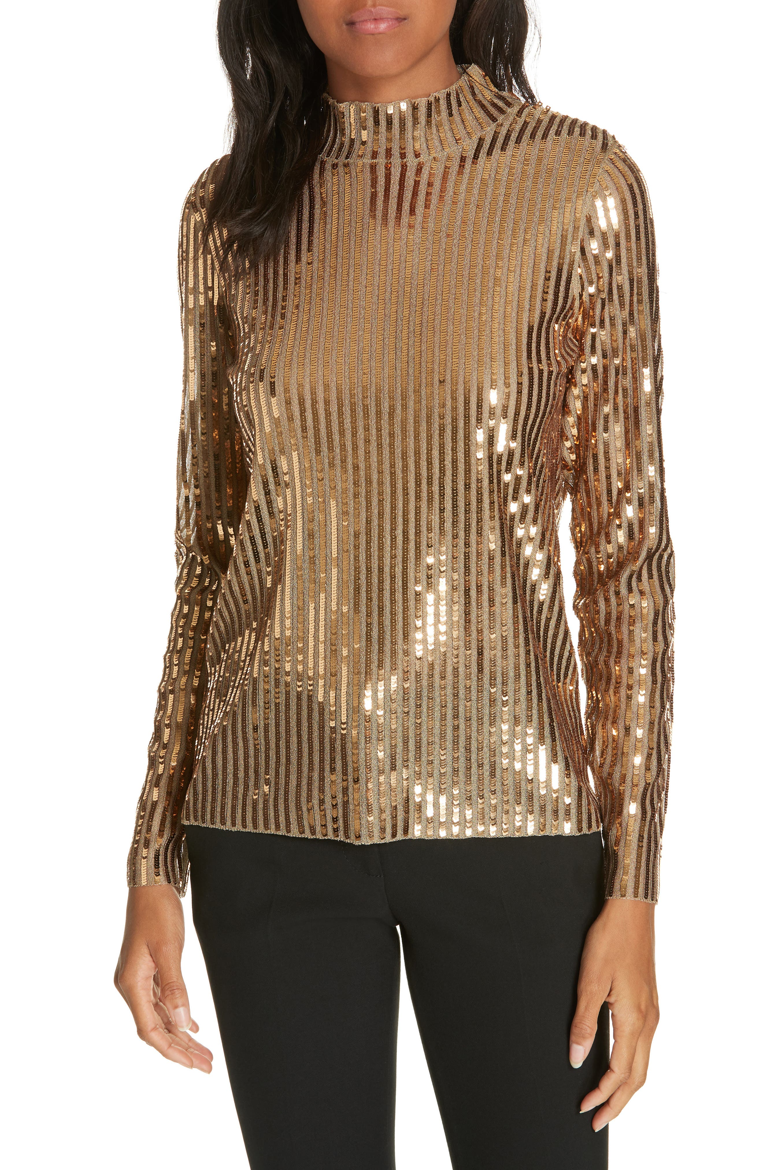 TANYA TAYLOR, Grace Gold Sequins Top, Main thumbnail 1, color, 712
