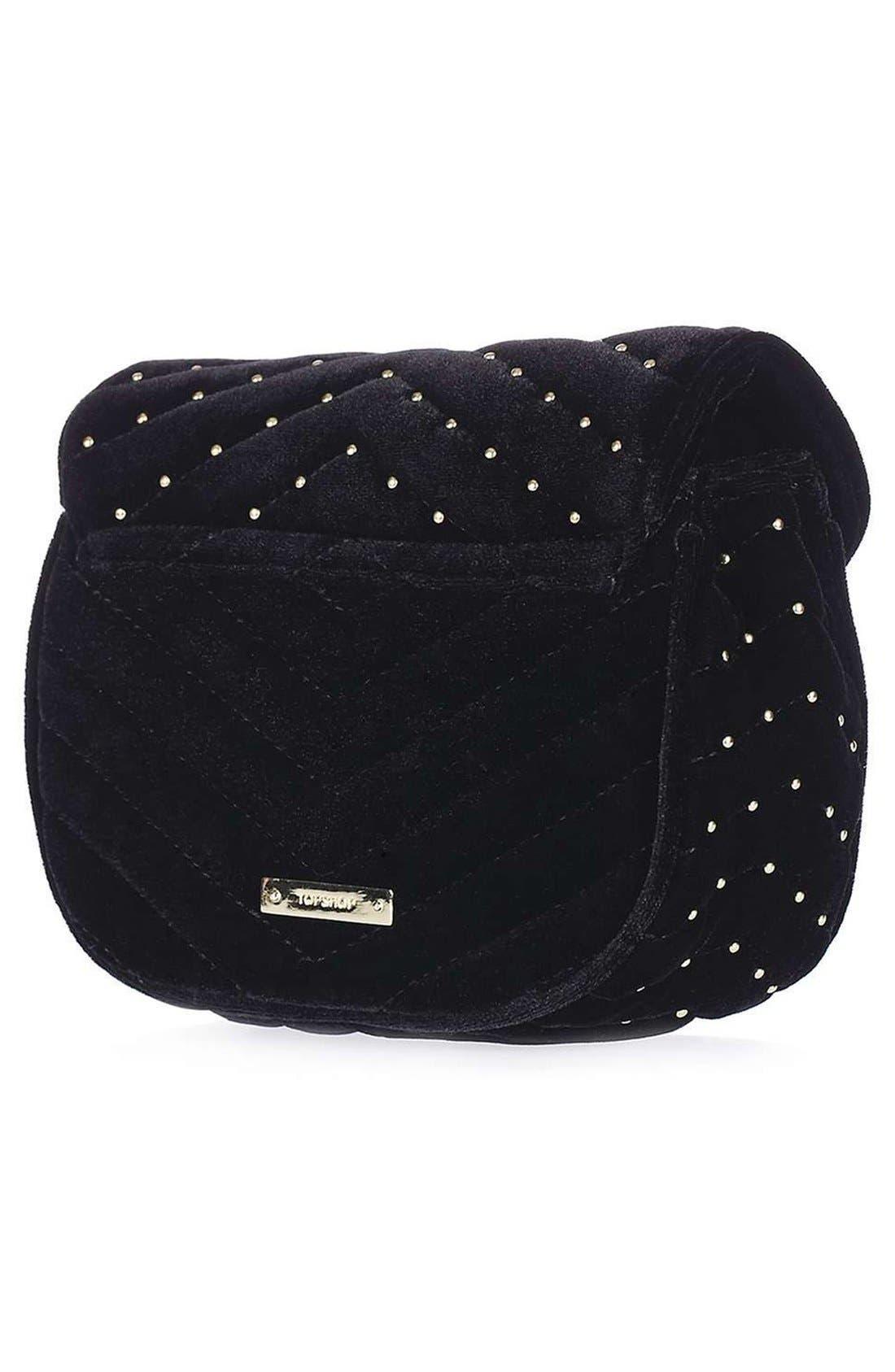 TOPSHOP, Embellished Velvet Crossbody Bag, Alternate thumbnail 5, color, 001