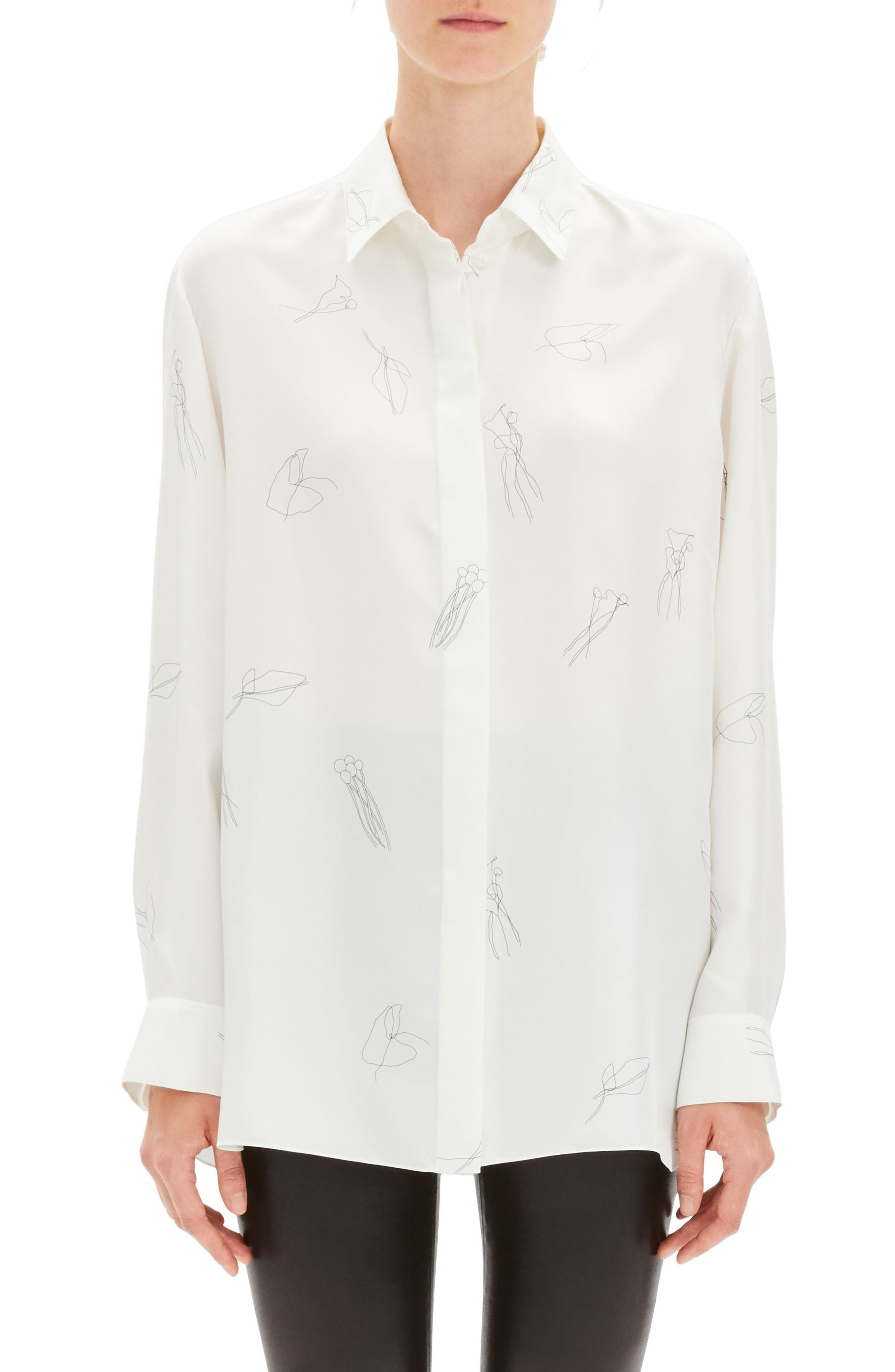THEORY, Classic Menswear Silk Shirt, Main thumbnail 1, color, 199