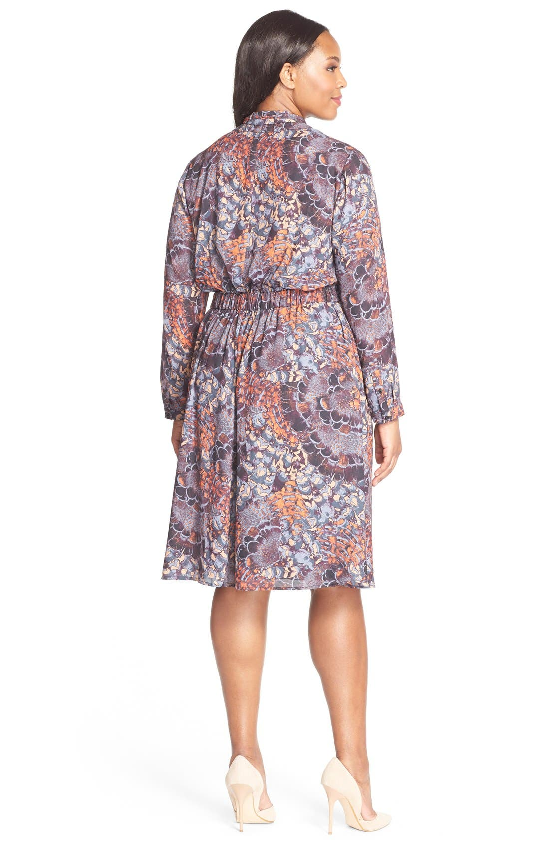 SEJOUR, Scarf Print Tie Neck Dress, Alternate thumbnail 2, color, 800