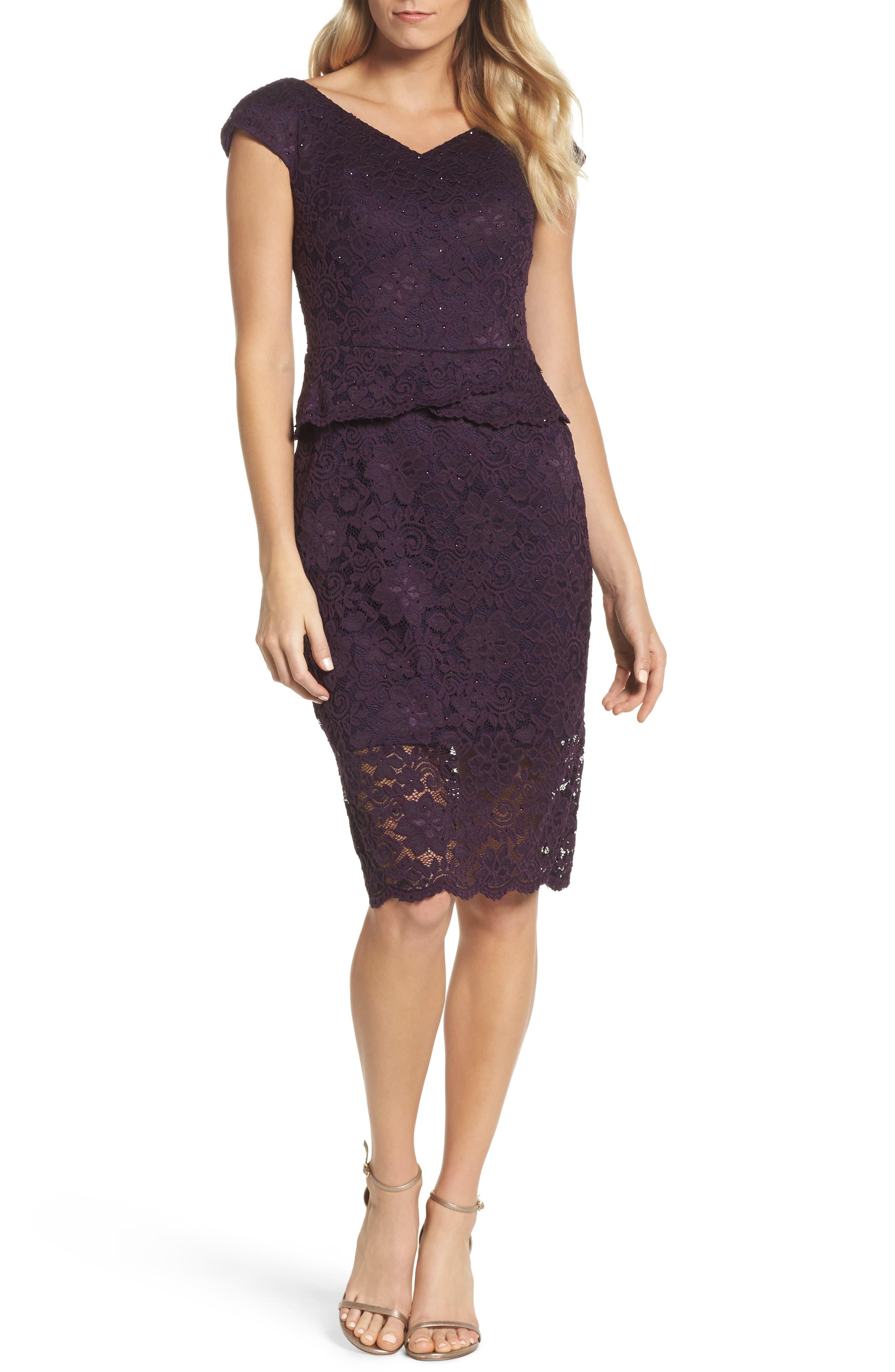 LA FEMME, Embellished Lace Sheath Dress, Main thumbnail 1, color, 501