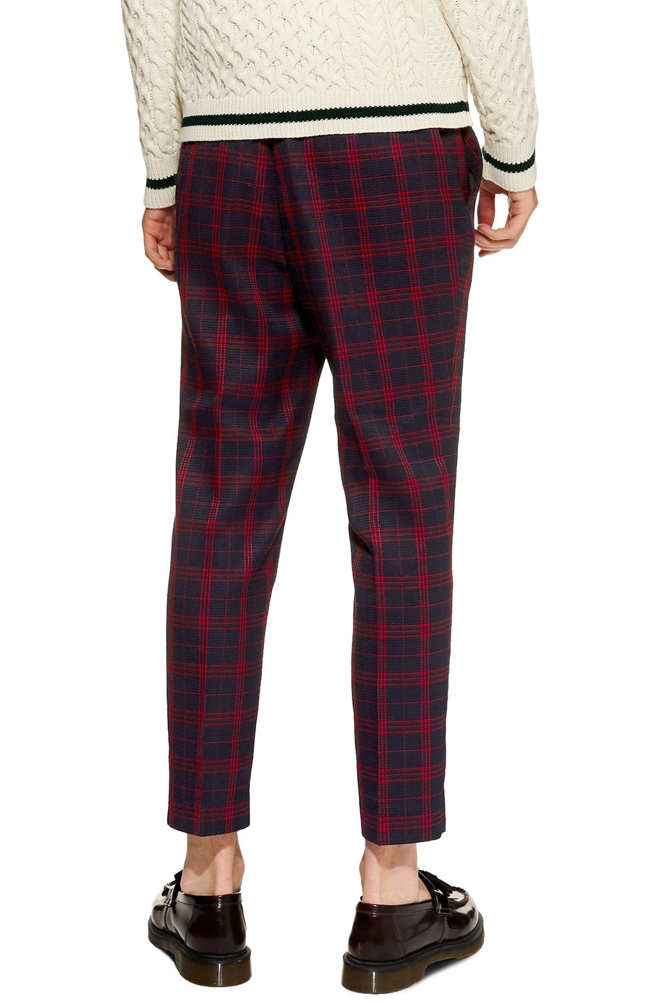 TOPMAN, Plaid Tapered Trousers, Alternate thumbnail 2, color, 401