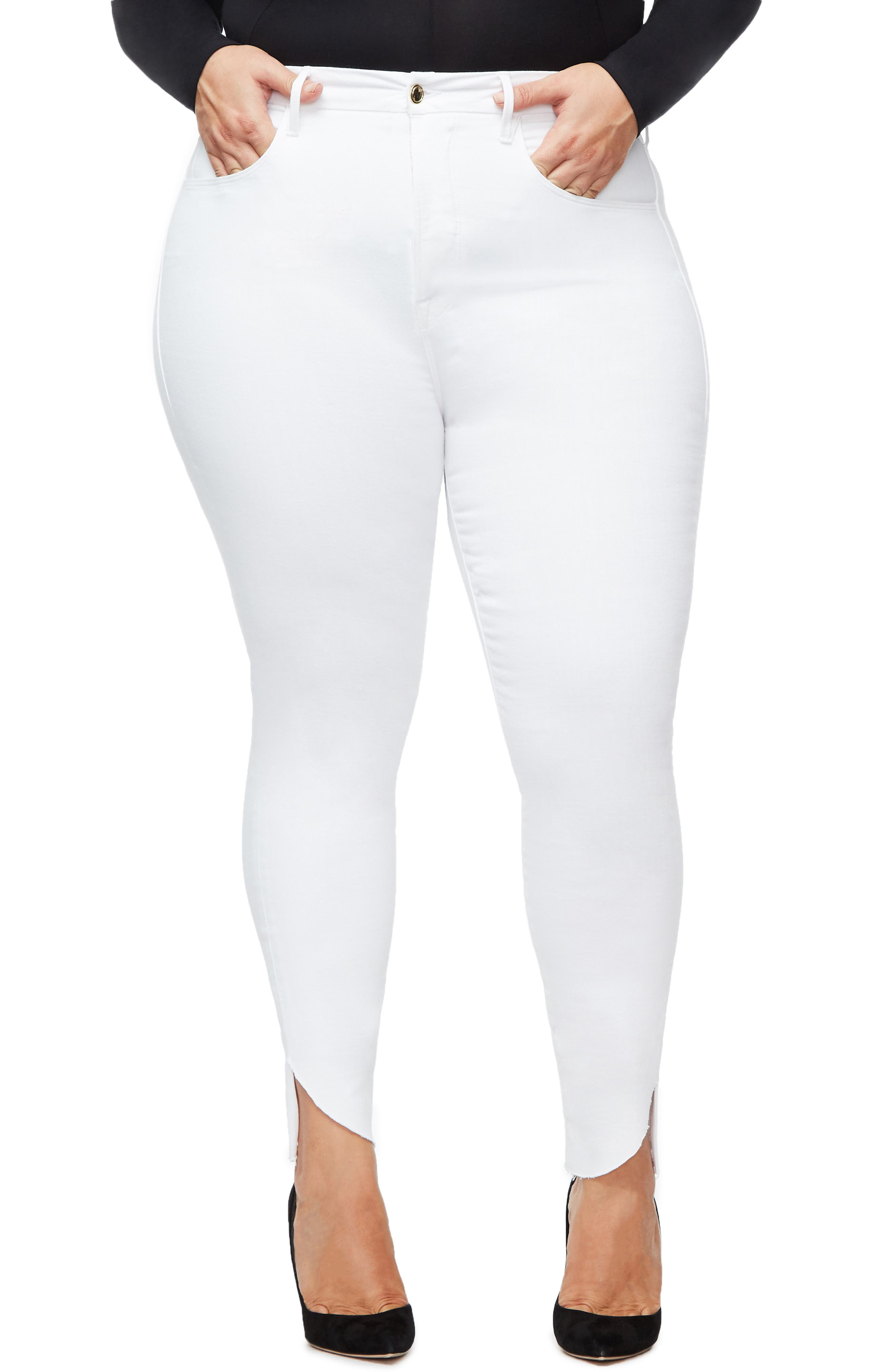 GOOD AMERICAN, Good Legs Cascade Hem Skinny Jeans, Alternate thumbnail 2, color, WHITE001