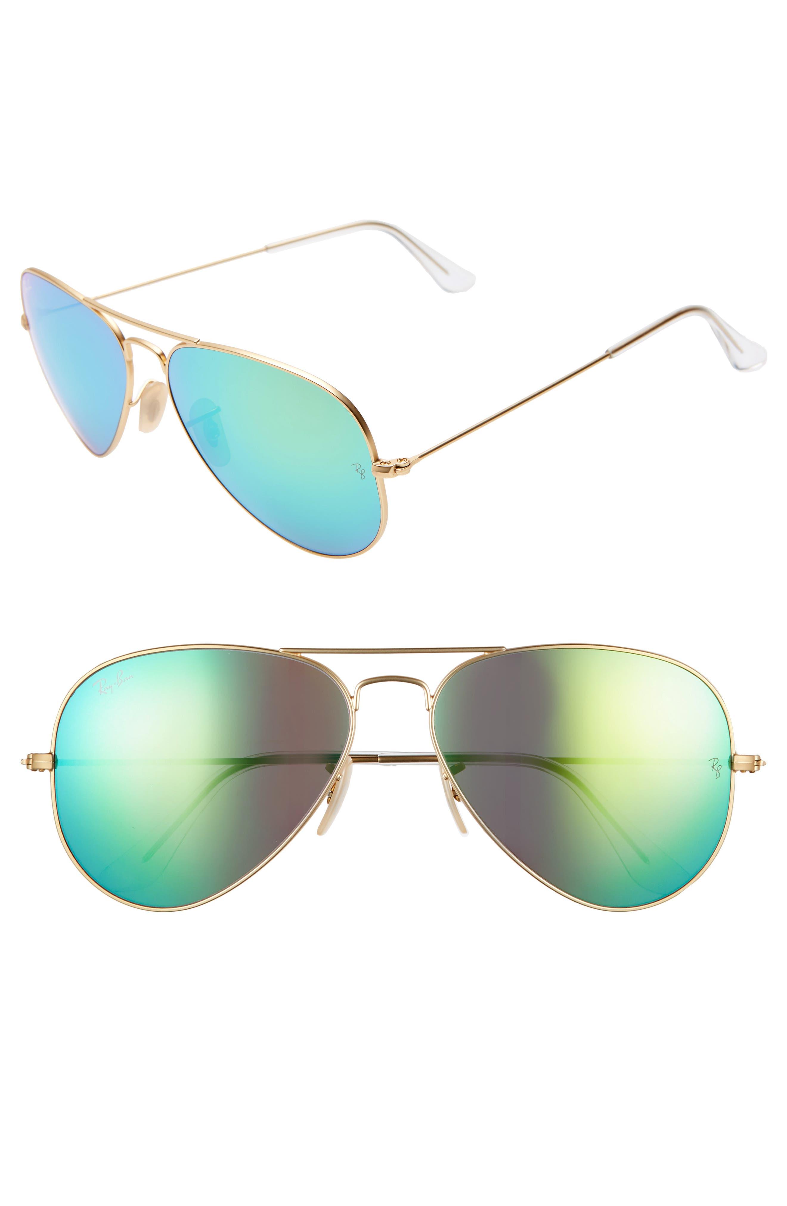 RAY-BAN 58mm Mirrored Aviator Sunglasses, Main, color, GOLD/ GREEN FLASH MIRROR