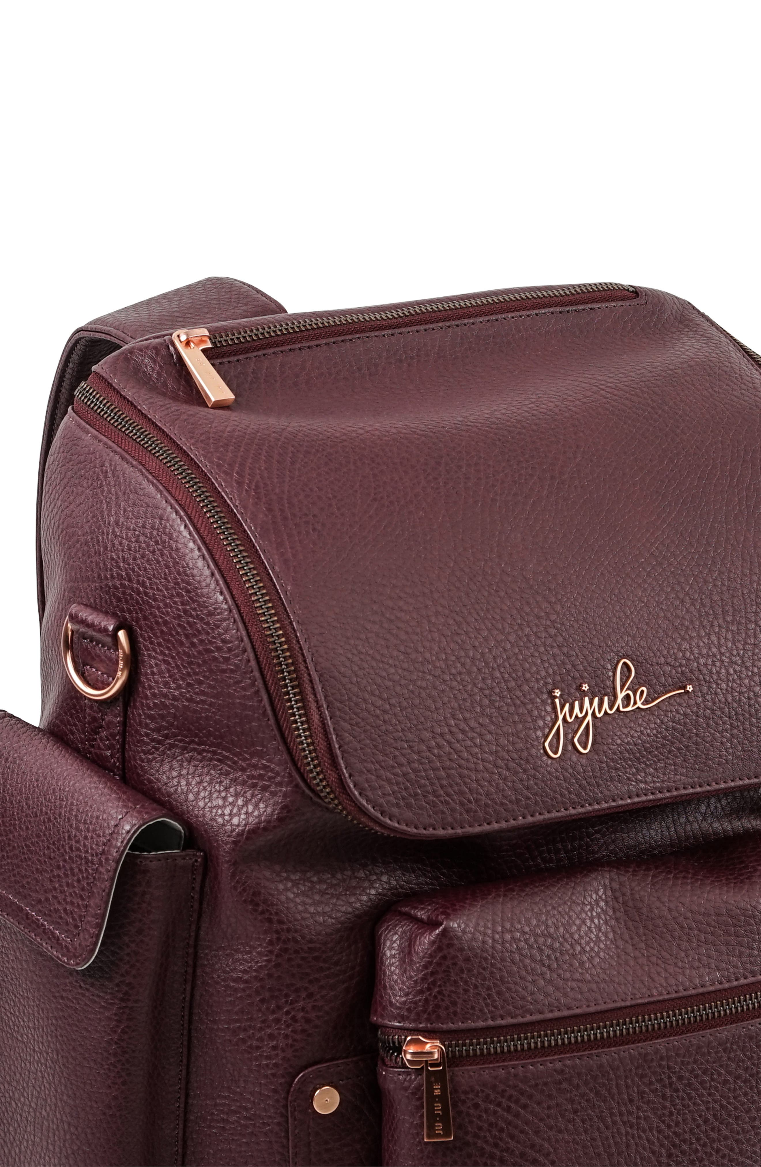 JU-JU-BE, Ever Collection Forever Faux Leather Diaper Backpack, Alternate thumbnail 5, color, PLUM