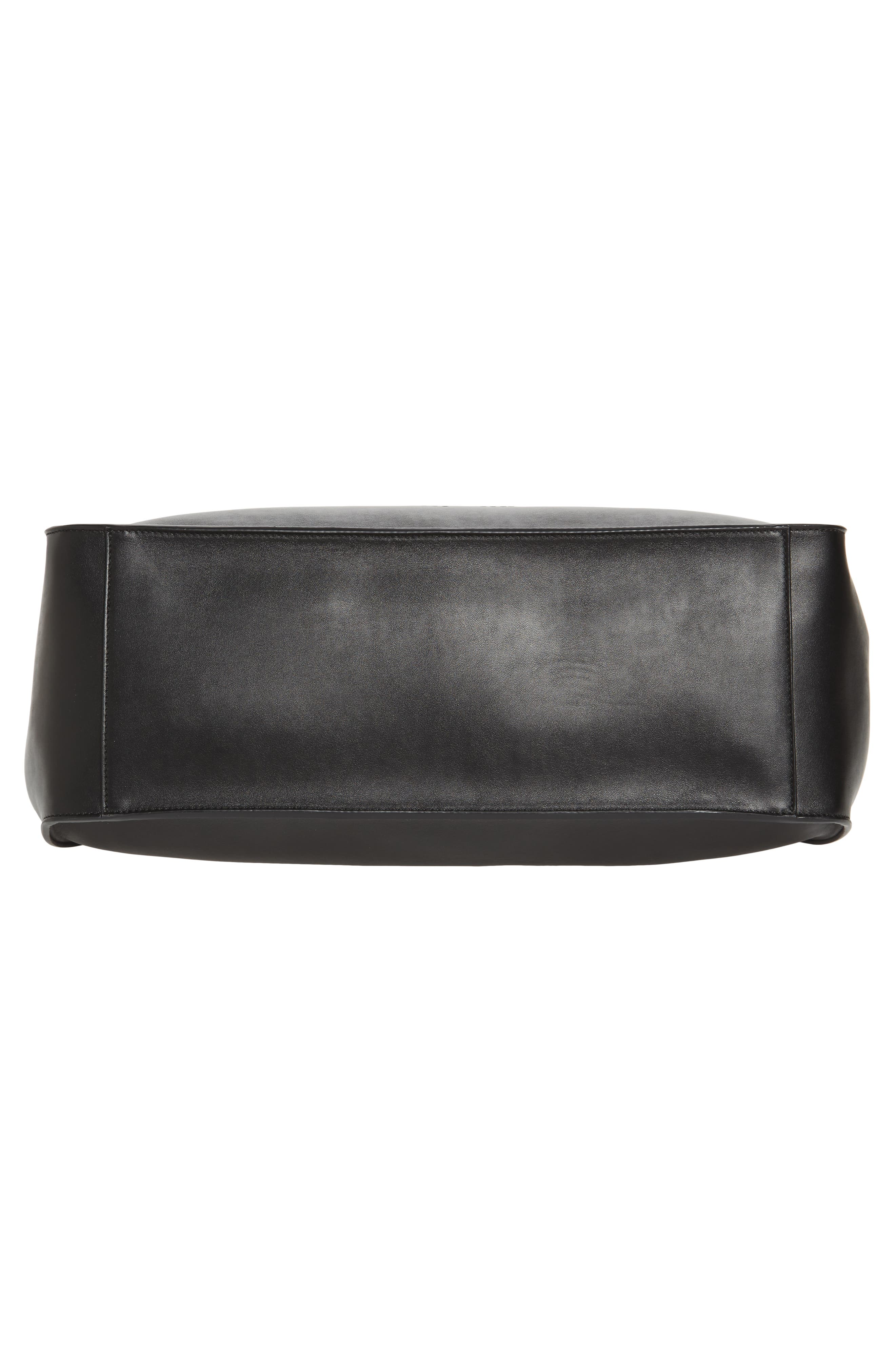 STELLA MCCARTNEY, Medium Perforated Logo Faux Leather Tote, Alternate thumbnail 6, color, BLACK