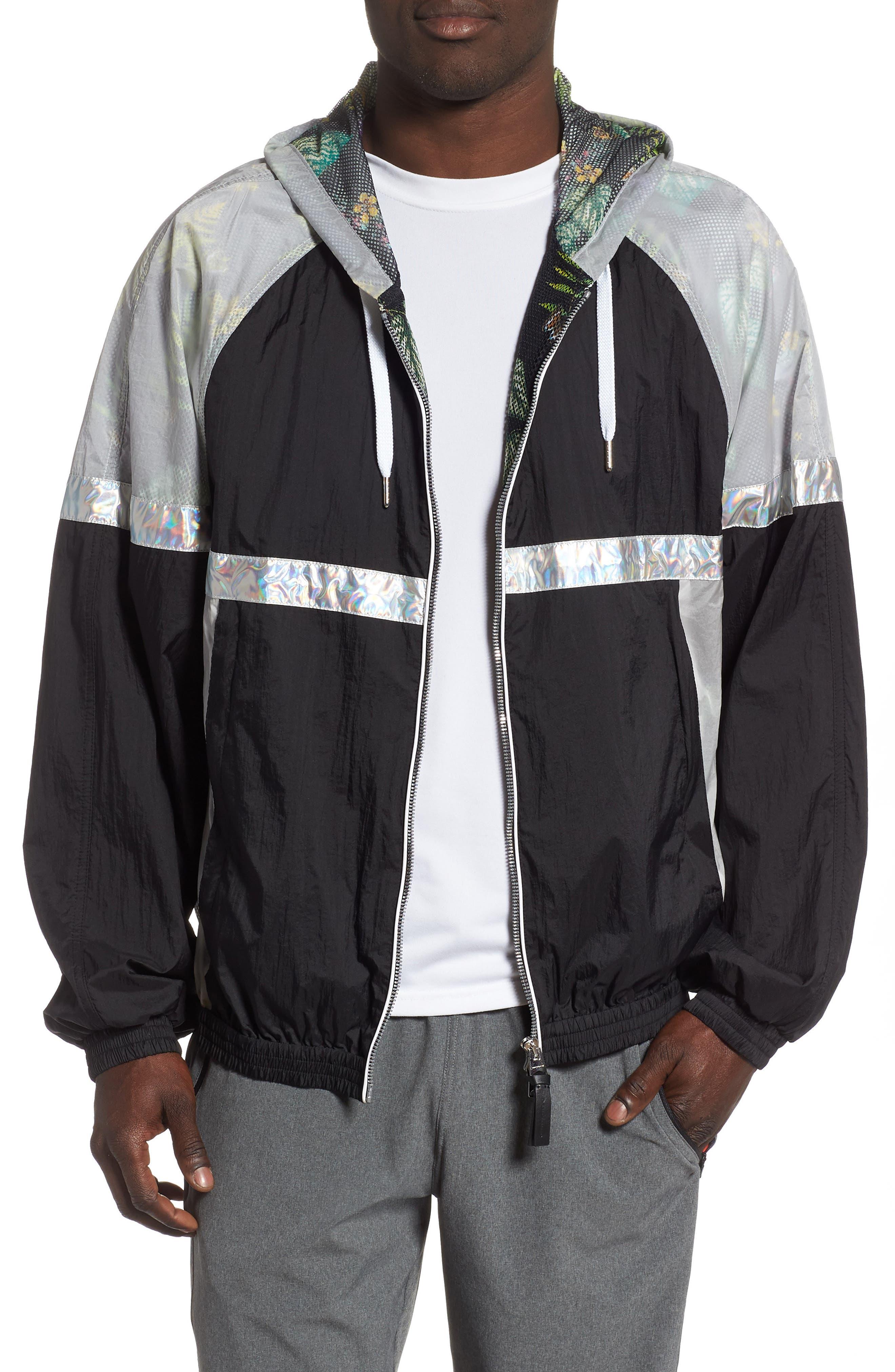 MACKAGE Axel Hooded Rain Jacket, Main, color, MULTI