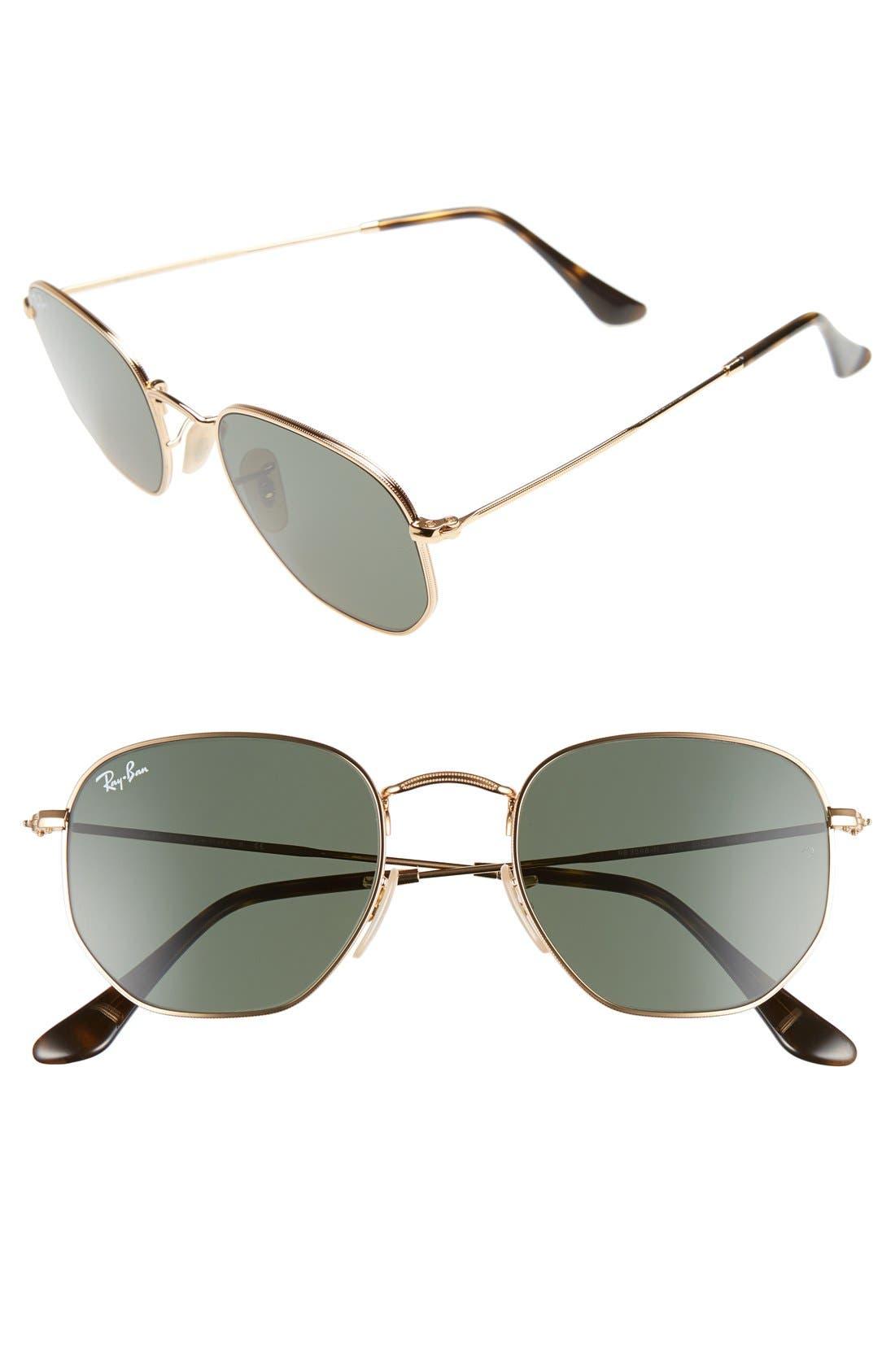RAY-BAN, 51mm Hexagonal Flat Lens Sunglasses, Main thumbnail 1, color, METAL GOLD/ GREEN