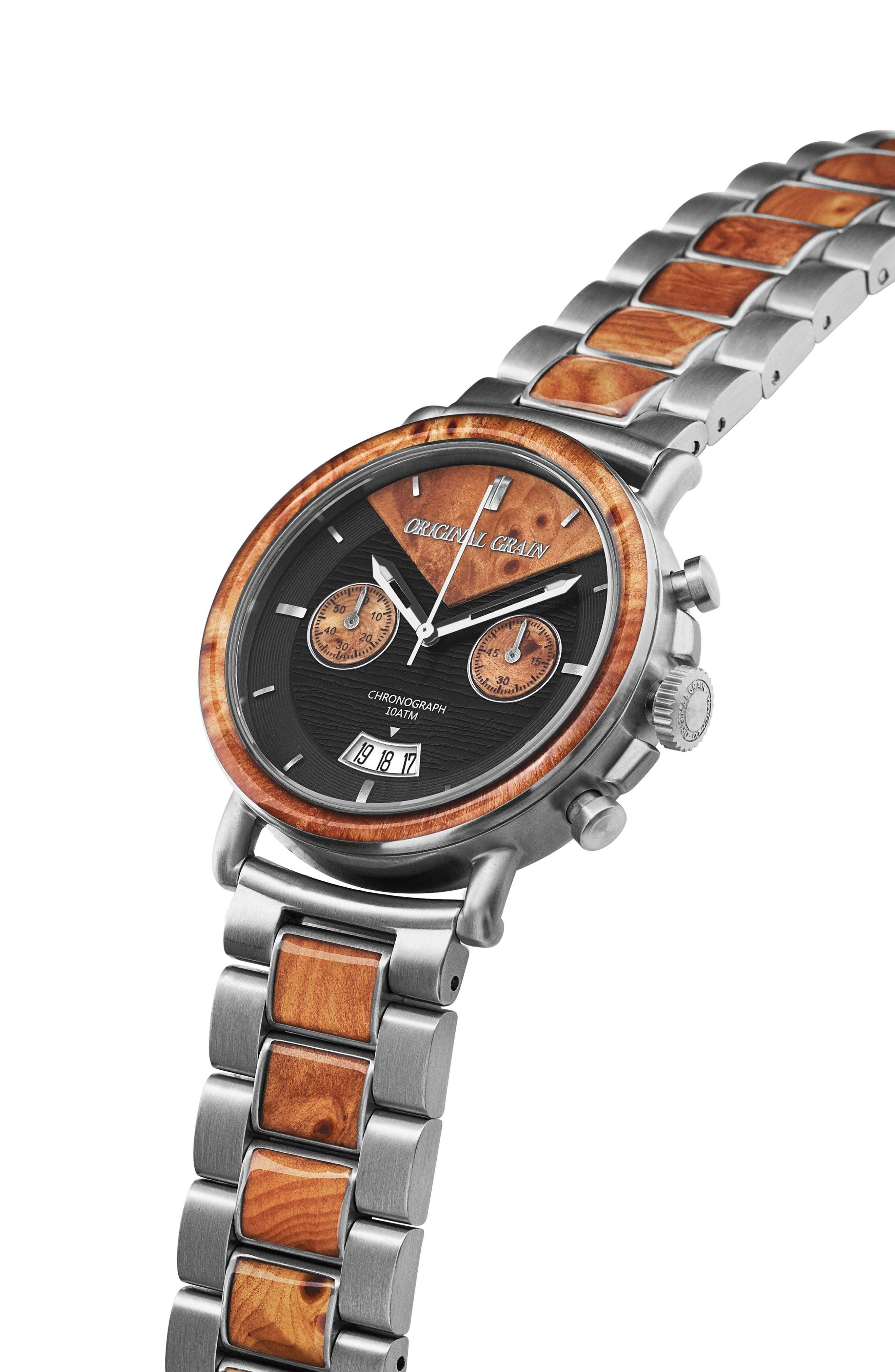 ORIGINAL GRAIN, Alterra Chronograph Bracelet Watch, 44mm, Alternate thumbnail 4, color, BURL WOOD/ BRUSHED SILVER