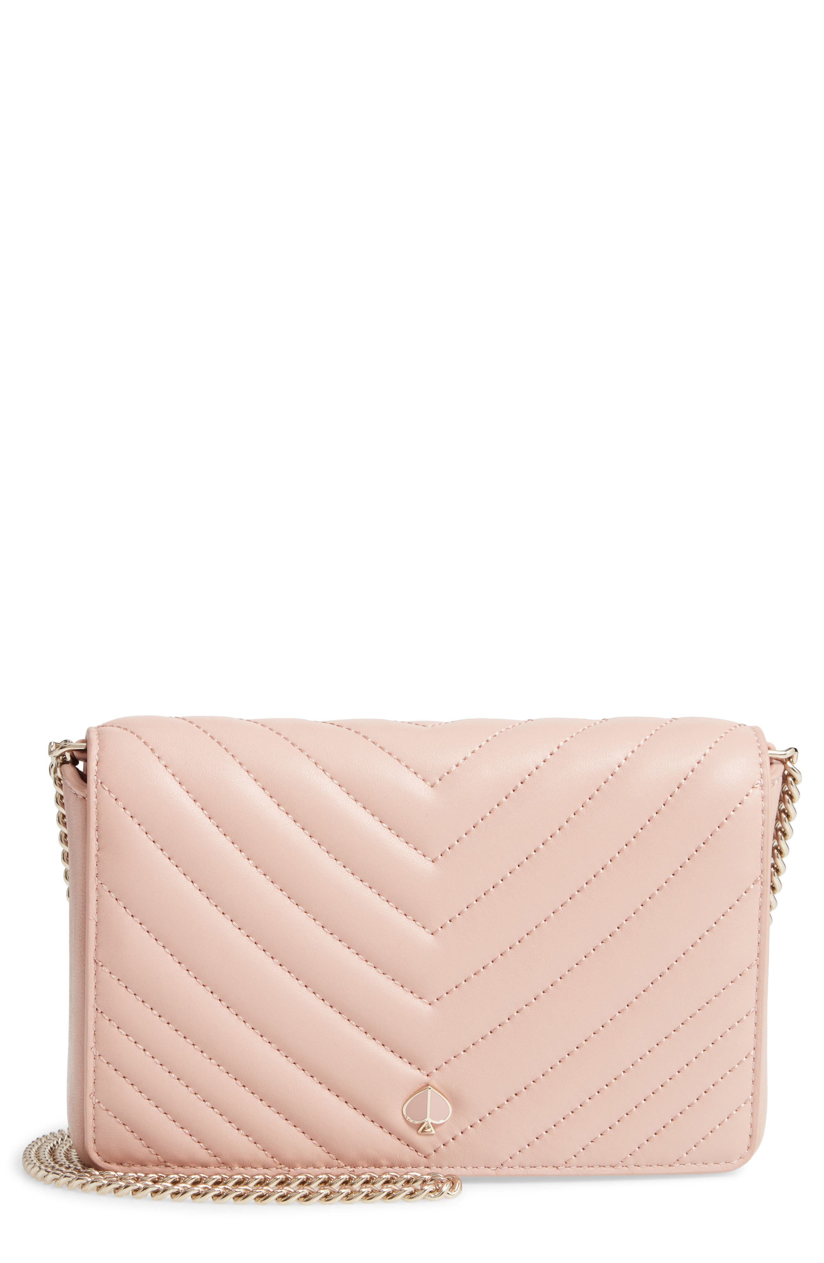 KATE SPADE NEW YORK, amelia quilted leather clutch, Main thumbnail 1, color, FLAPPER PINK