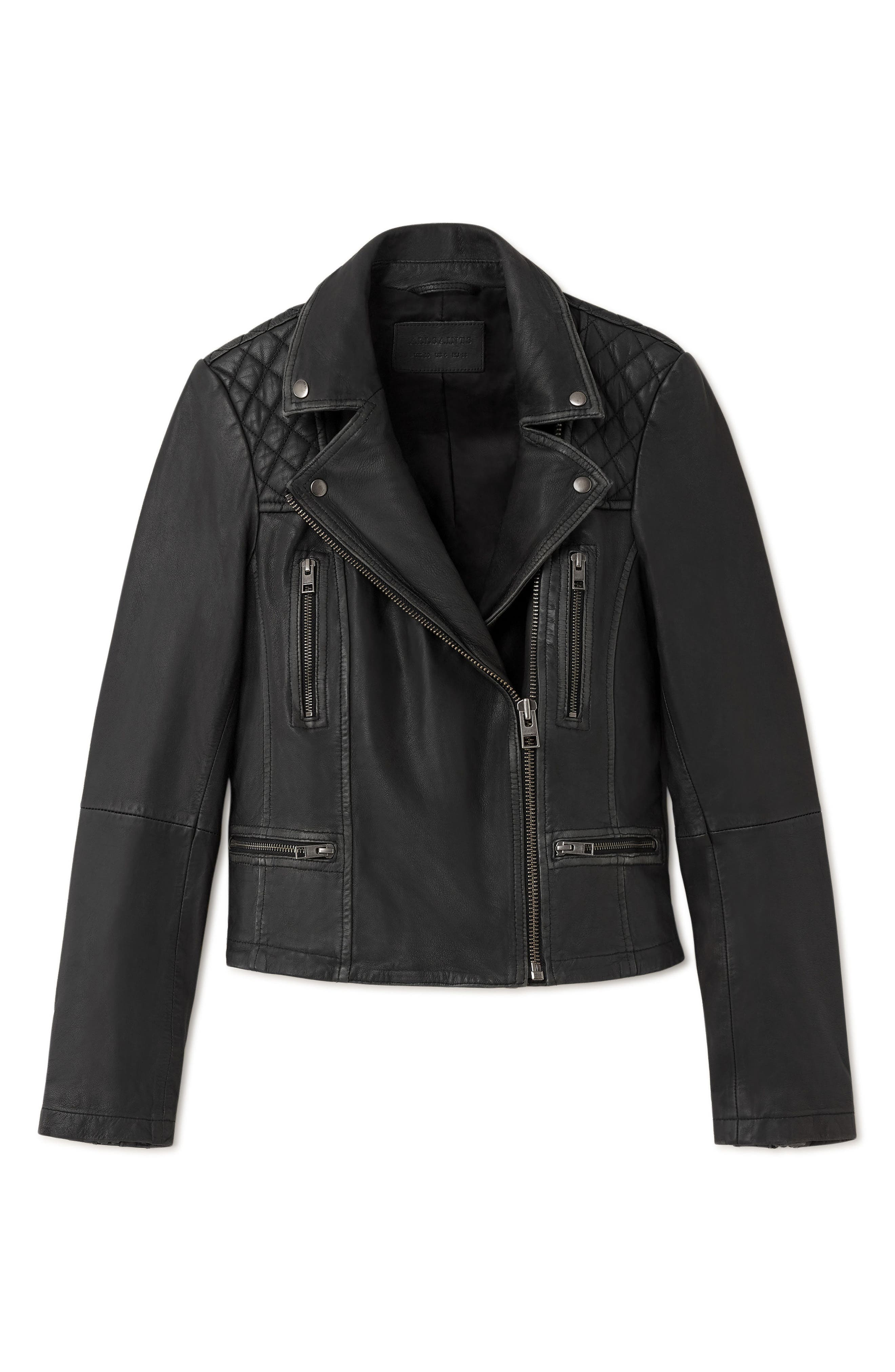 ALLSAINTS, Cargo Biker Slim Fit Leather Jacket, Alternate thumbnail 5, color, BLACK GREY