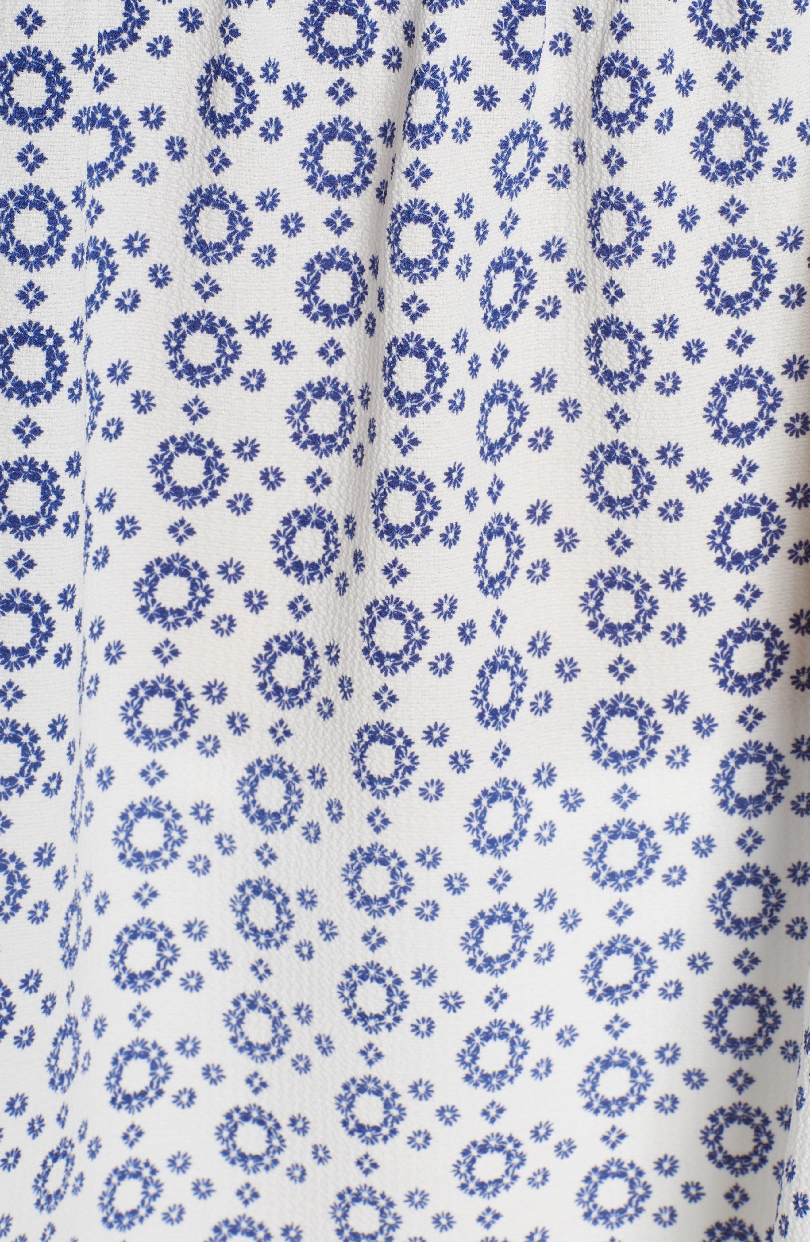 GIBSON, x International Women's Day Lindsey Crochet Detail Babydoll Blouse, Alternate thumbnail 5, color, WHITE/ NAVY GEO