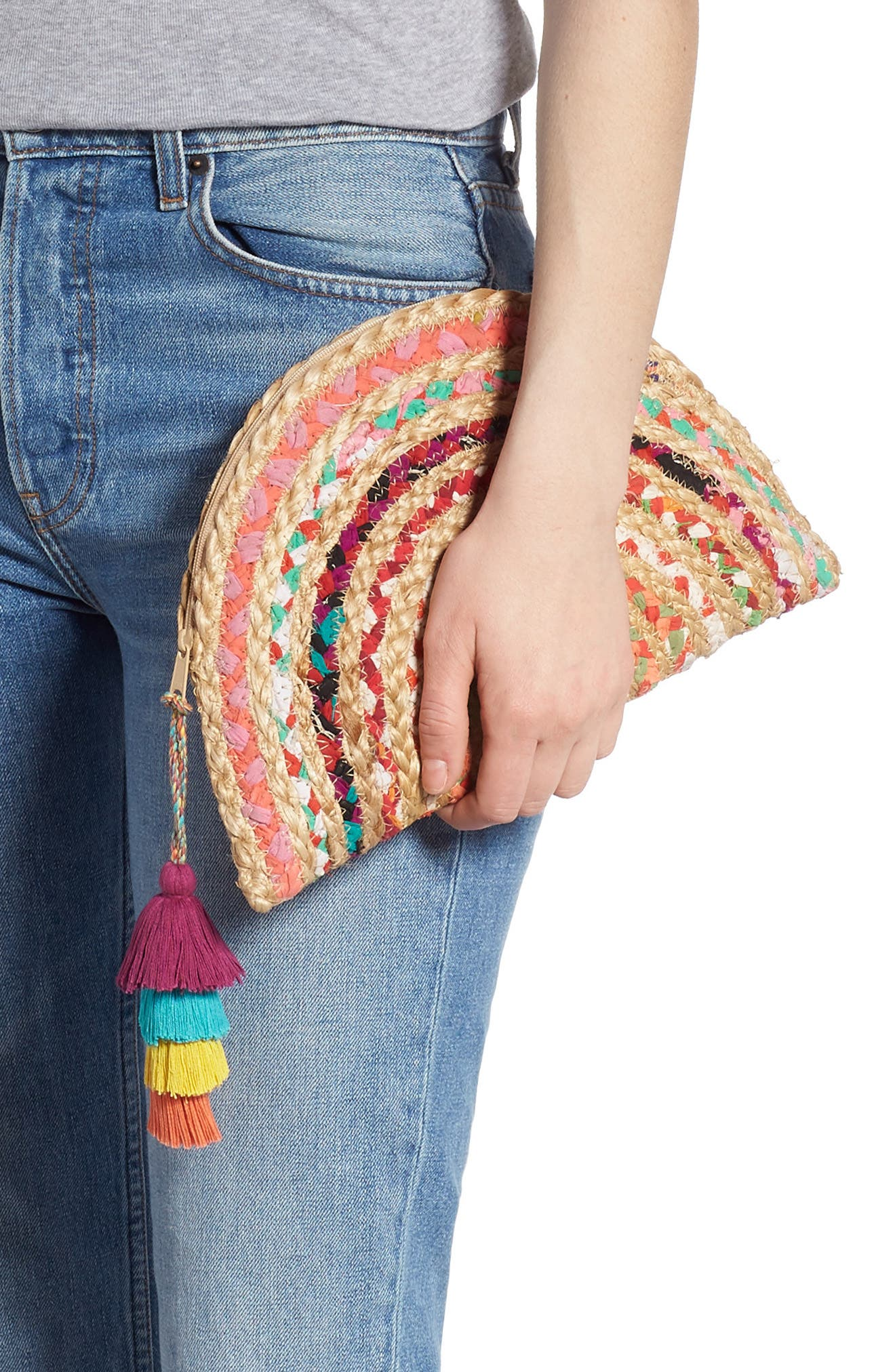 SHIRALEAH, Mirabel Woven Half Moon Clutch, Alternate thumbnail 2, color, BEIGE/ PINK