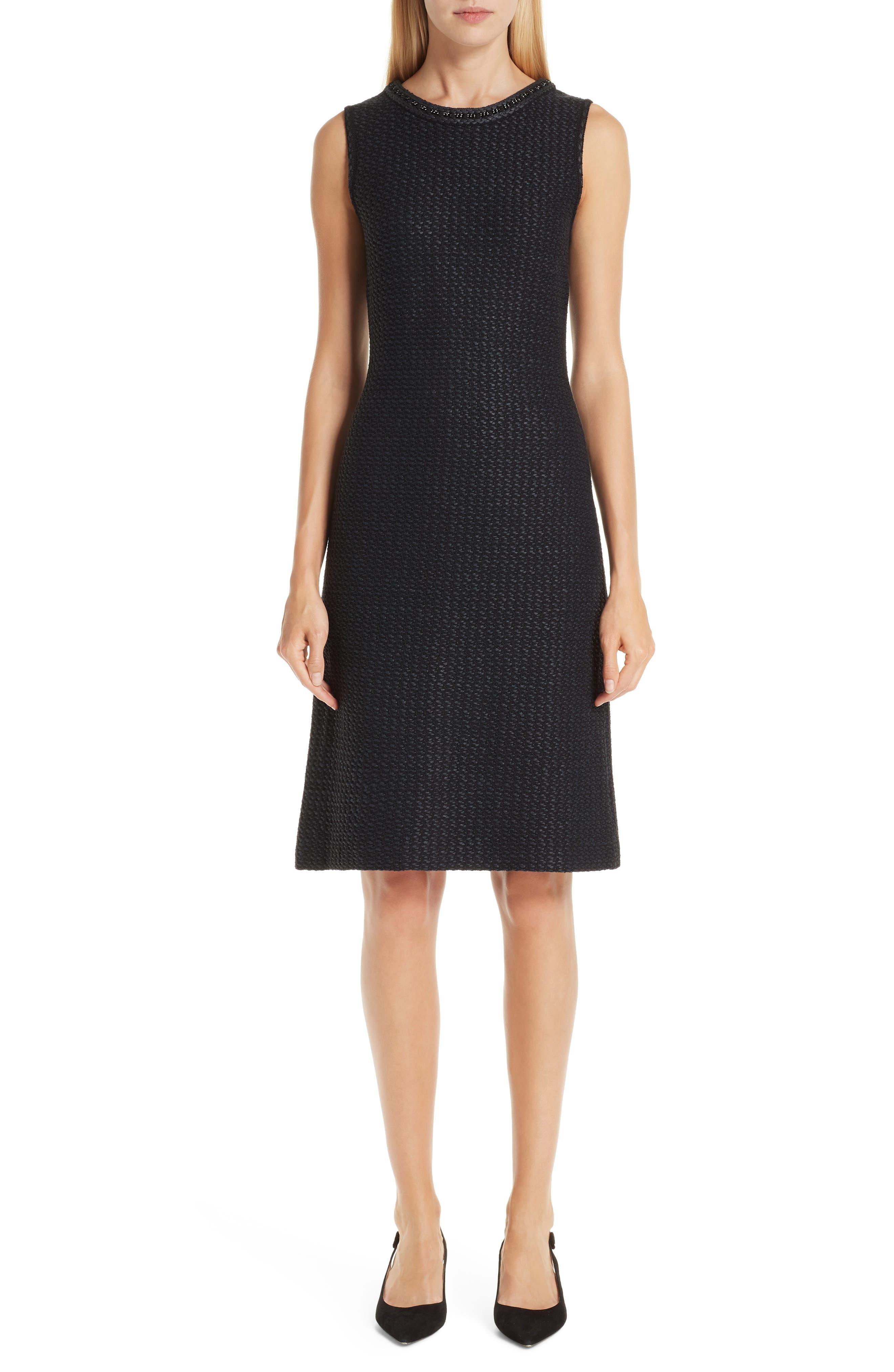 ST. JOHN COLLECTION, Adina Chain Trim Knit Dress, Main thumbnail 1, color, CAVIAR