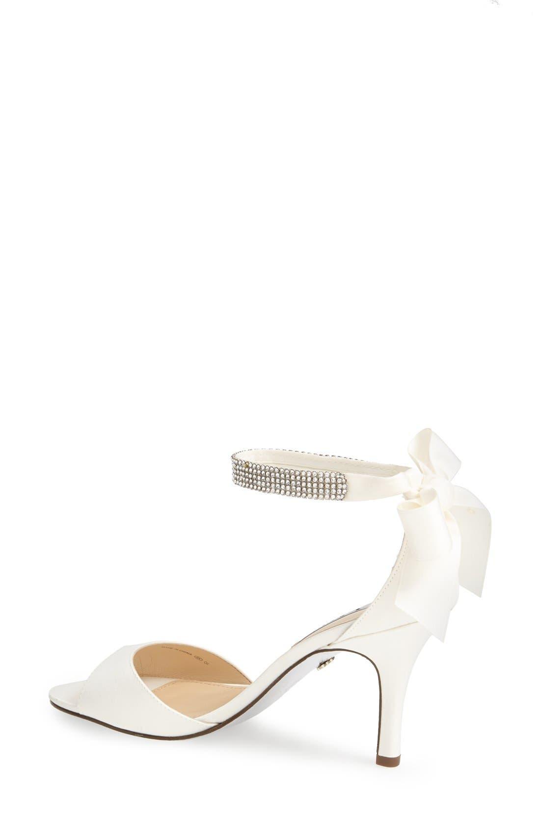 NINA, 'Vinnie' Crystal Embellished Ankle Strap Sandal, Alternate thumbnail 2, color, IVORY