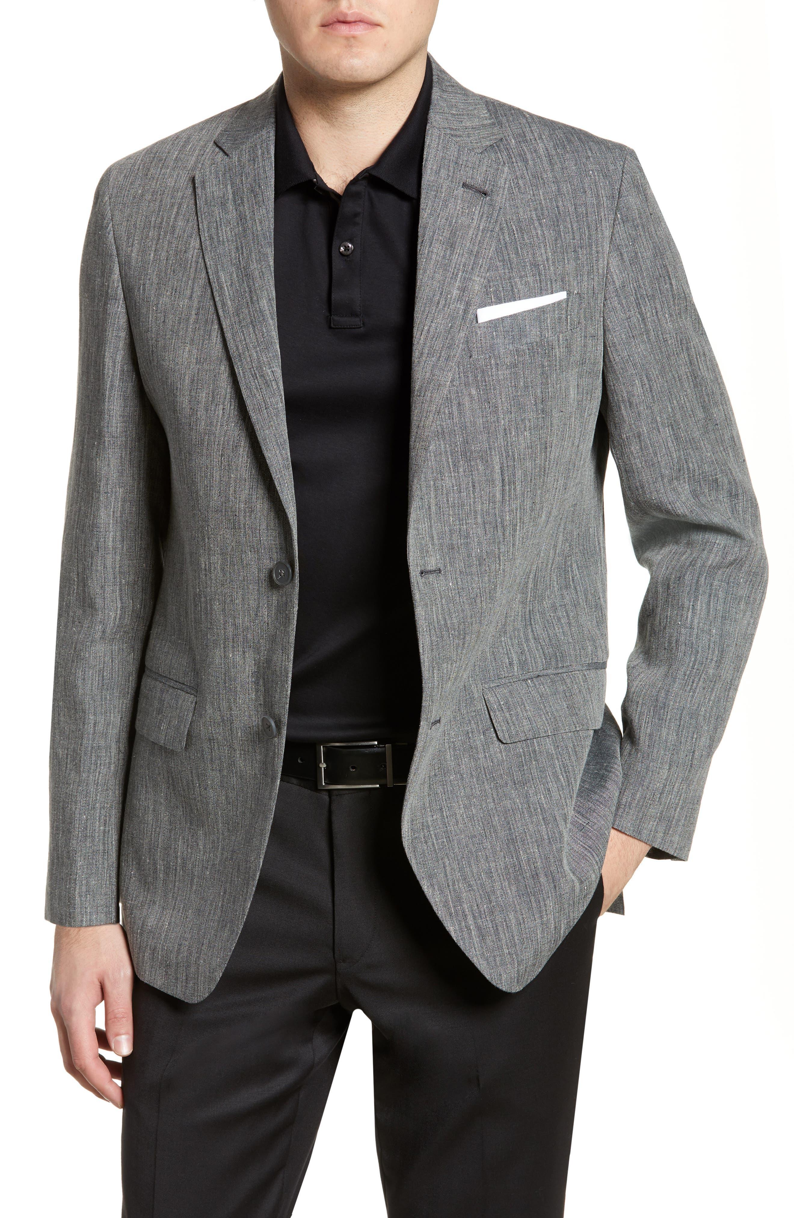 NORDSTROM MEN'S SHOP Mélange Linen Blazer, Main, color, GREY PHANTOM CHAMBRAY
