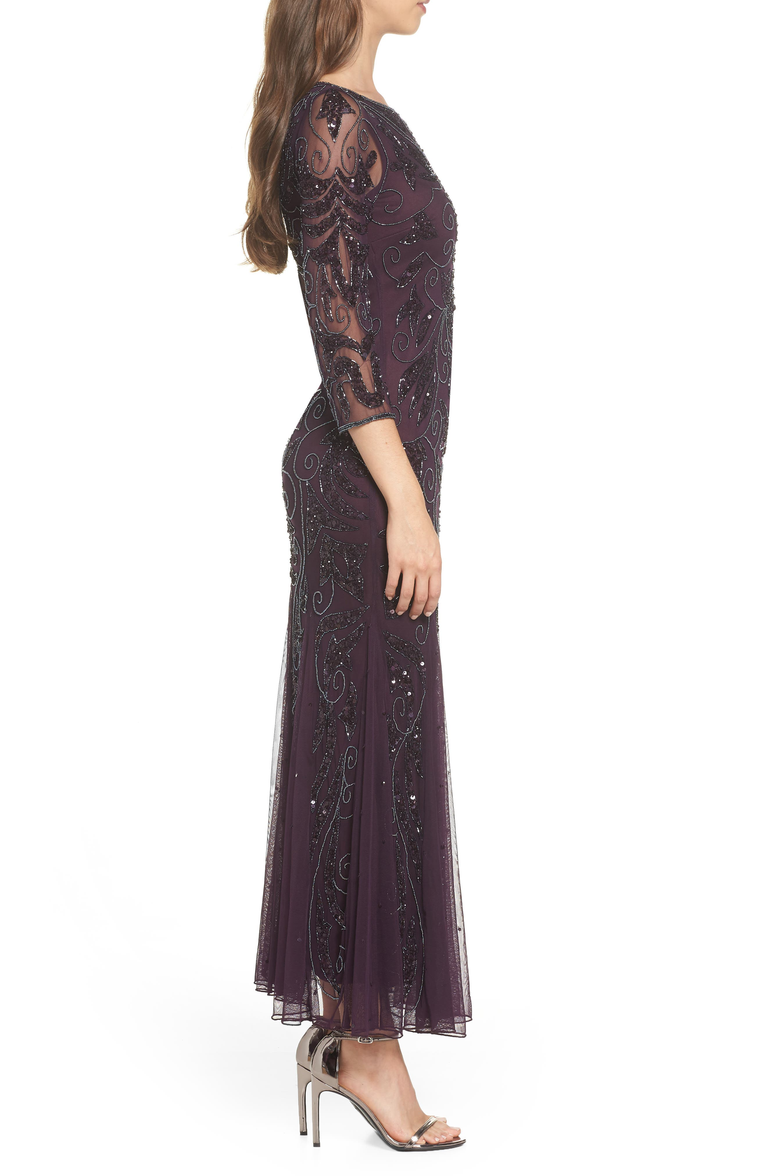PISARRO NIGHTS, Embellished Mesh Gown, Alternate thumbnail 4, color, 536