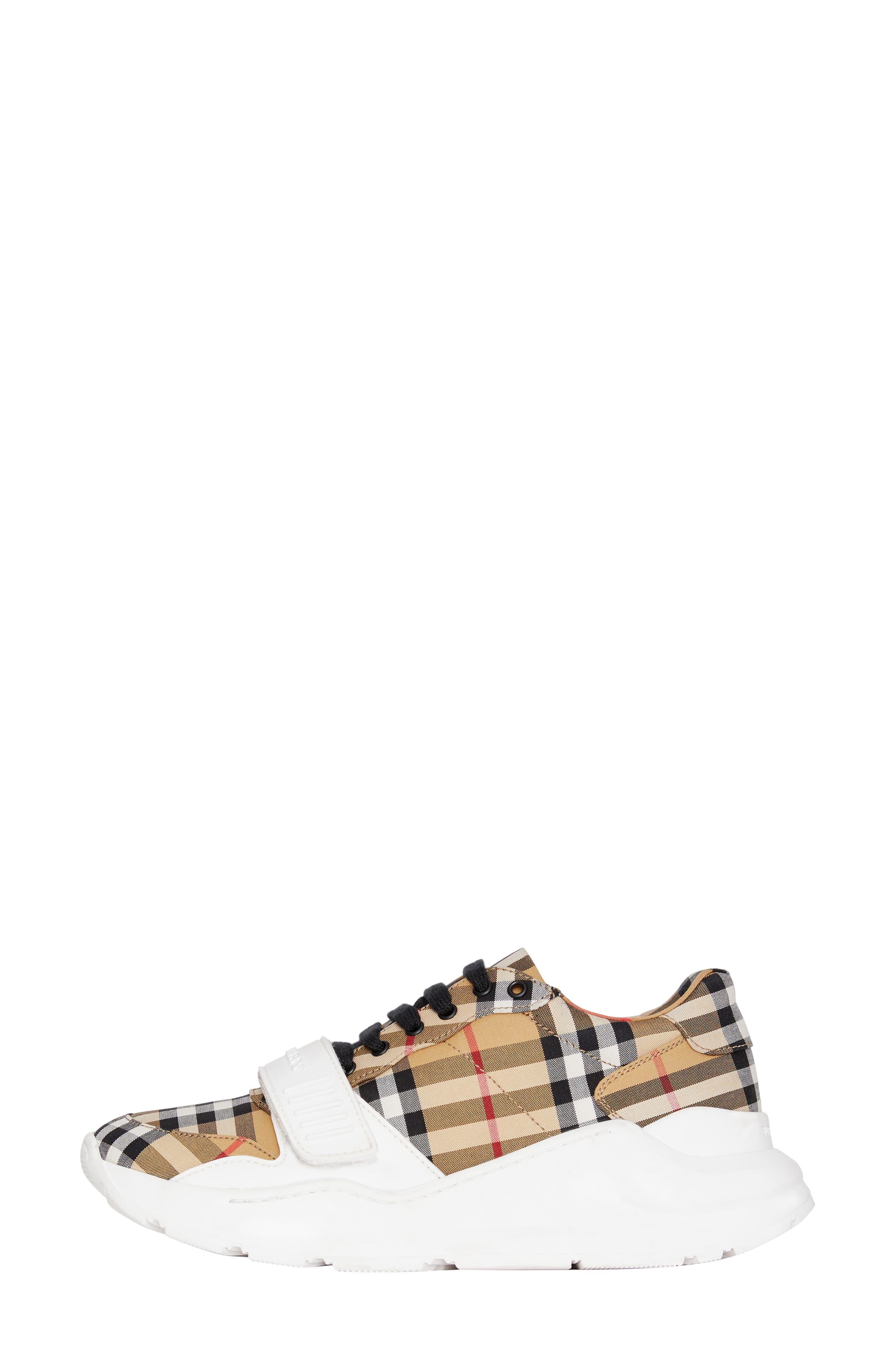 BURBERRY, Regis Check Lace-Up Sneaker, Alternate thumbnail 8, color, BEIGE PLAID