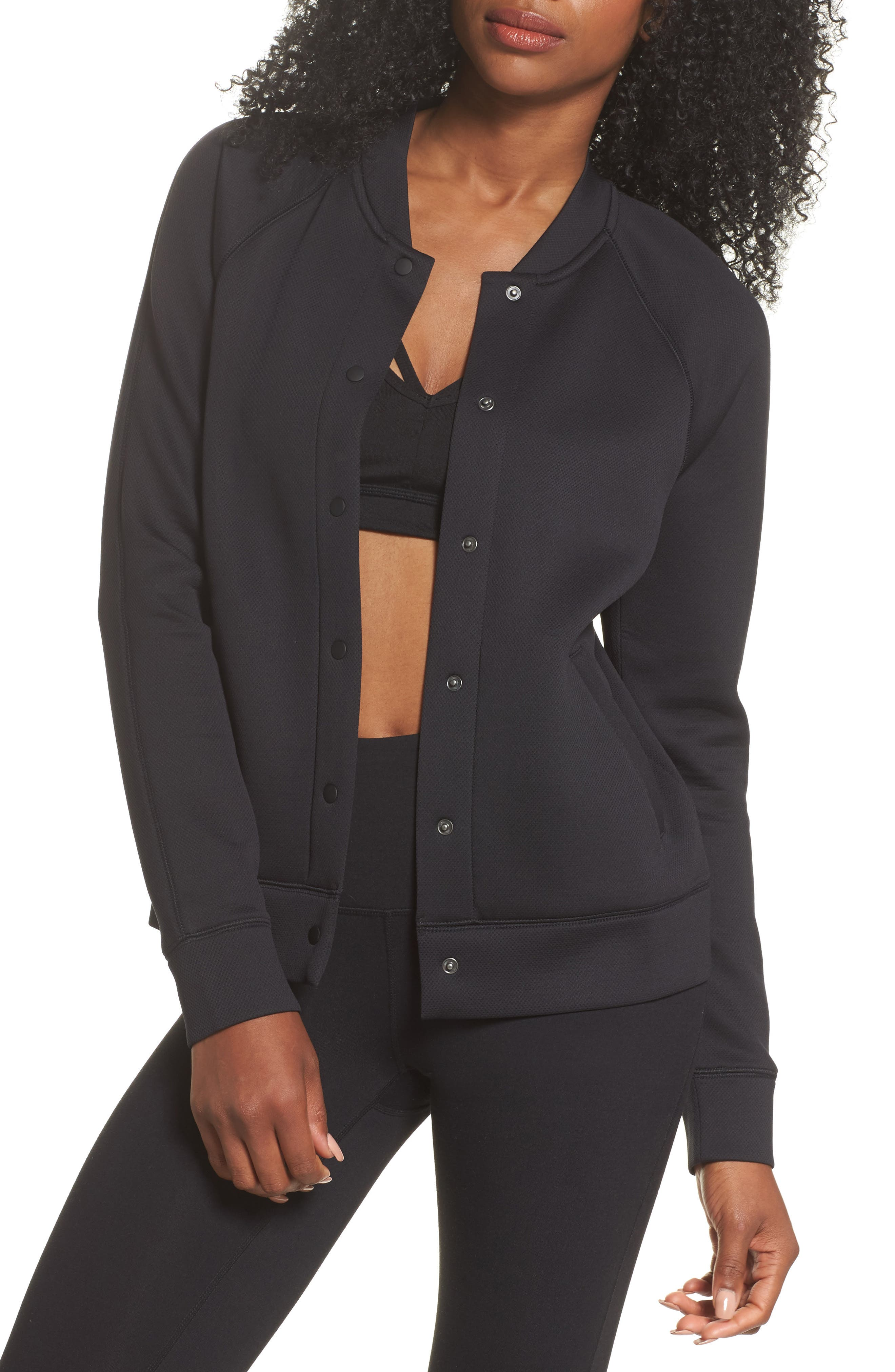 ZELLA Arise Luxe Bomber Jacket, Main, color, BLACK