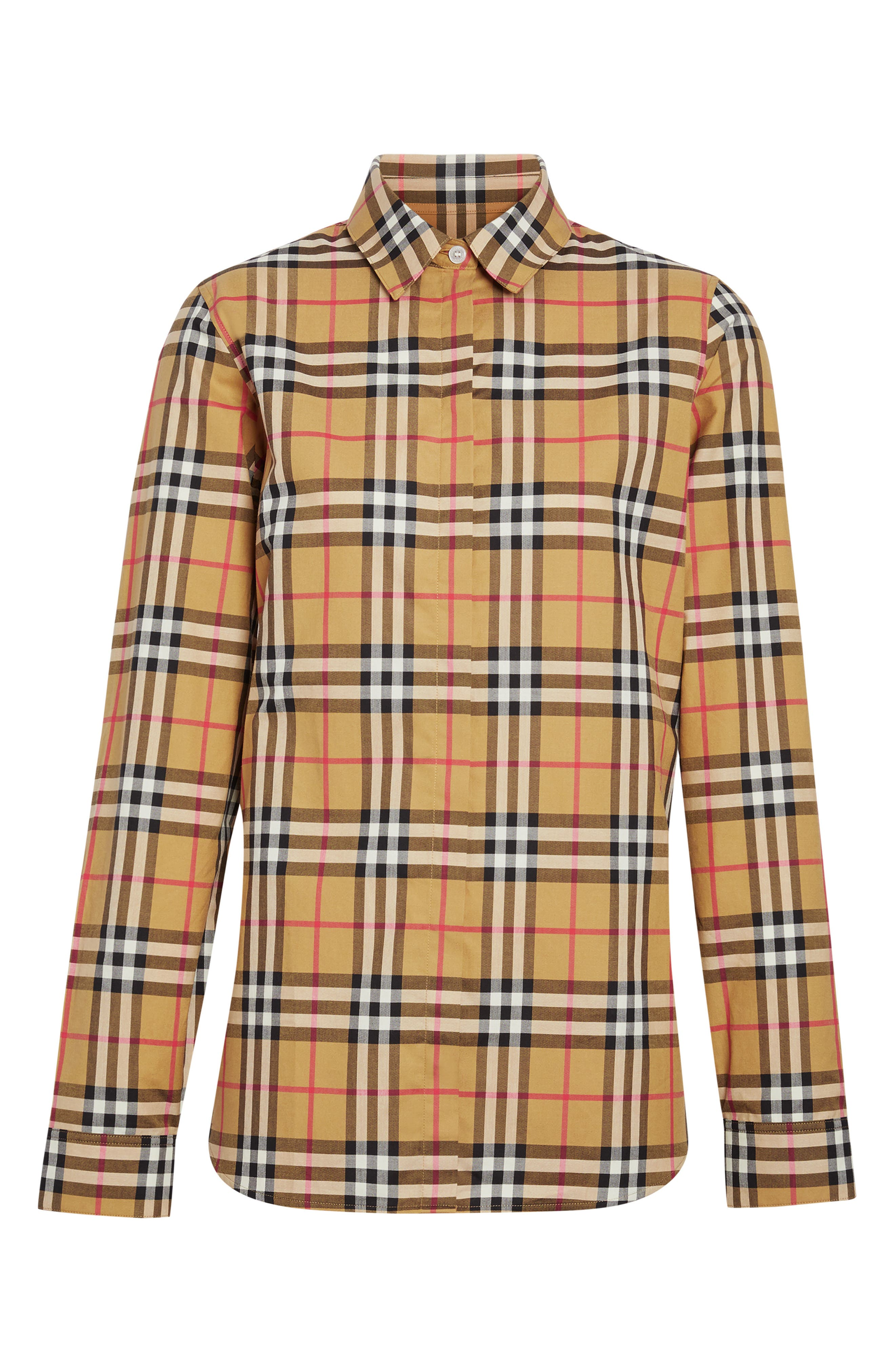 BURBERRY, Crow Vintage Check Shirt, Alternate thumbnail 3, color, ANTIQUE YELLOW CHECK