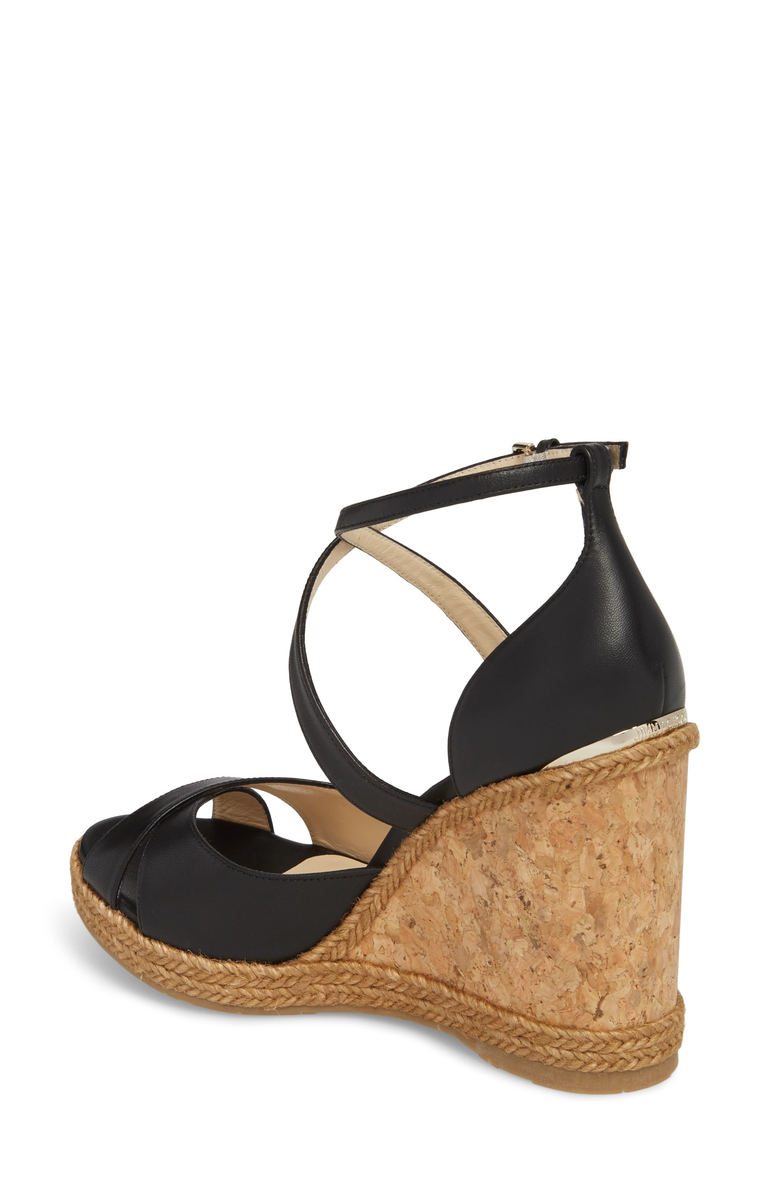 JIMMY CHOO, Alanah Espadrille Wedge Sandal, Alternate thumbnail 2, color, BLACK