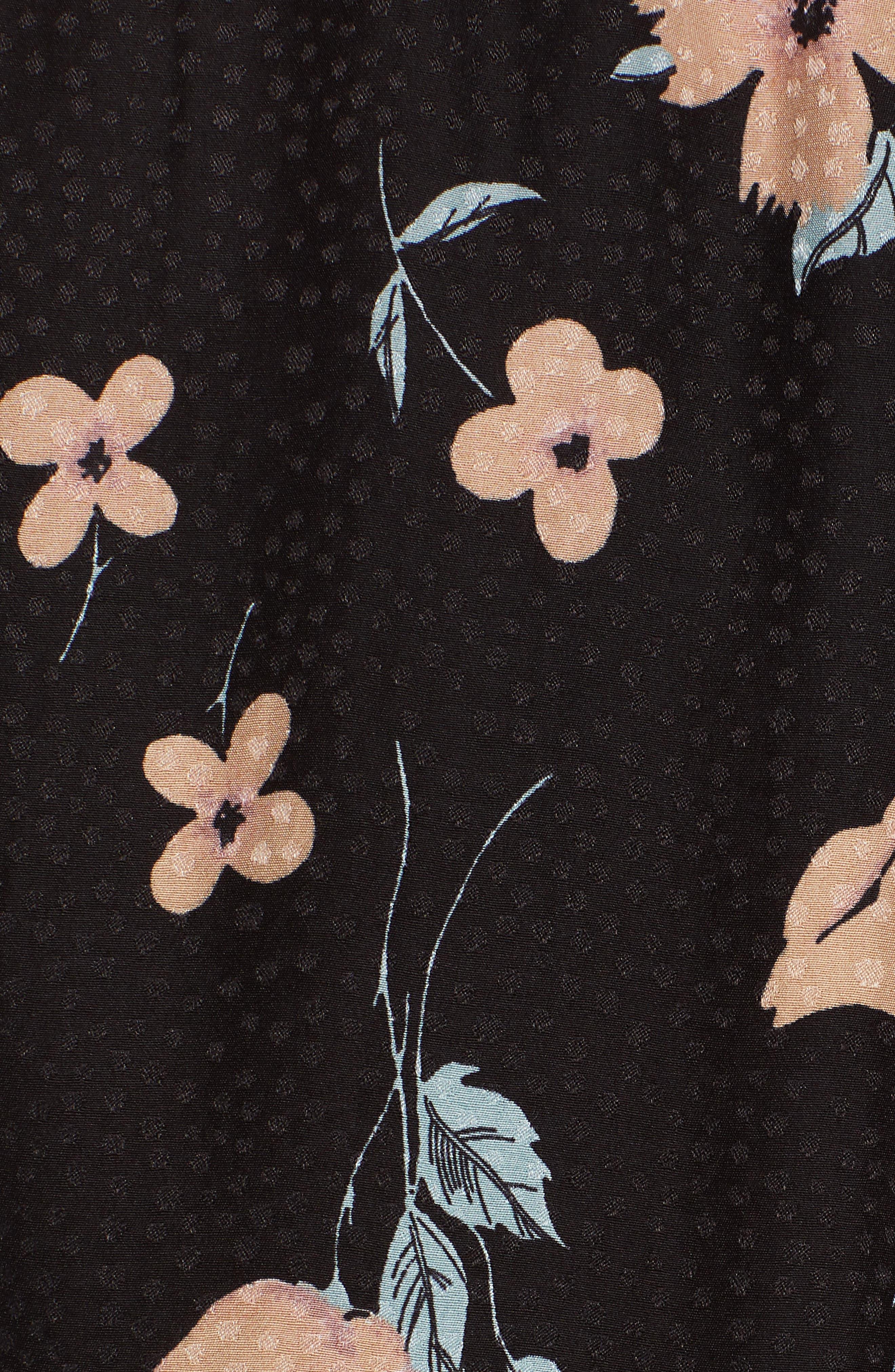 REBECCA TAYLOR, Daniella Silk Blend Top, Alternate thumbnail 5, color, BLACK COMBO