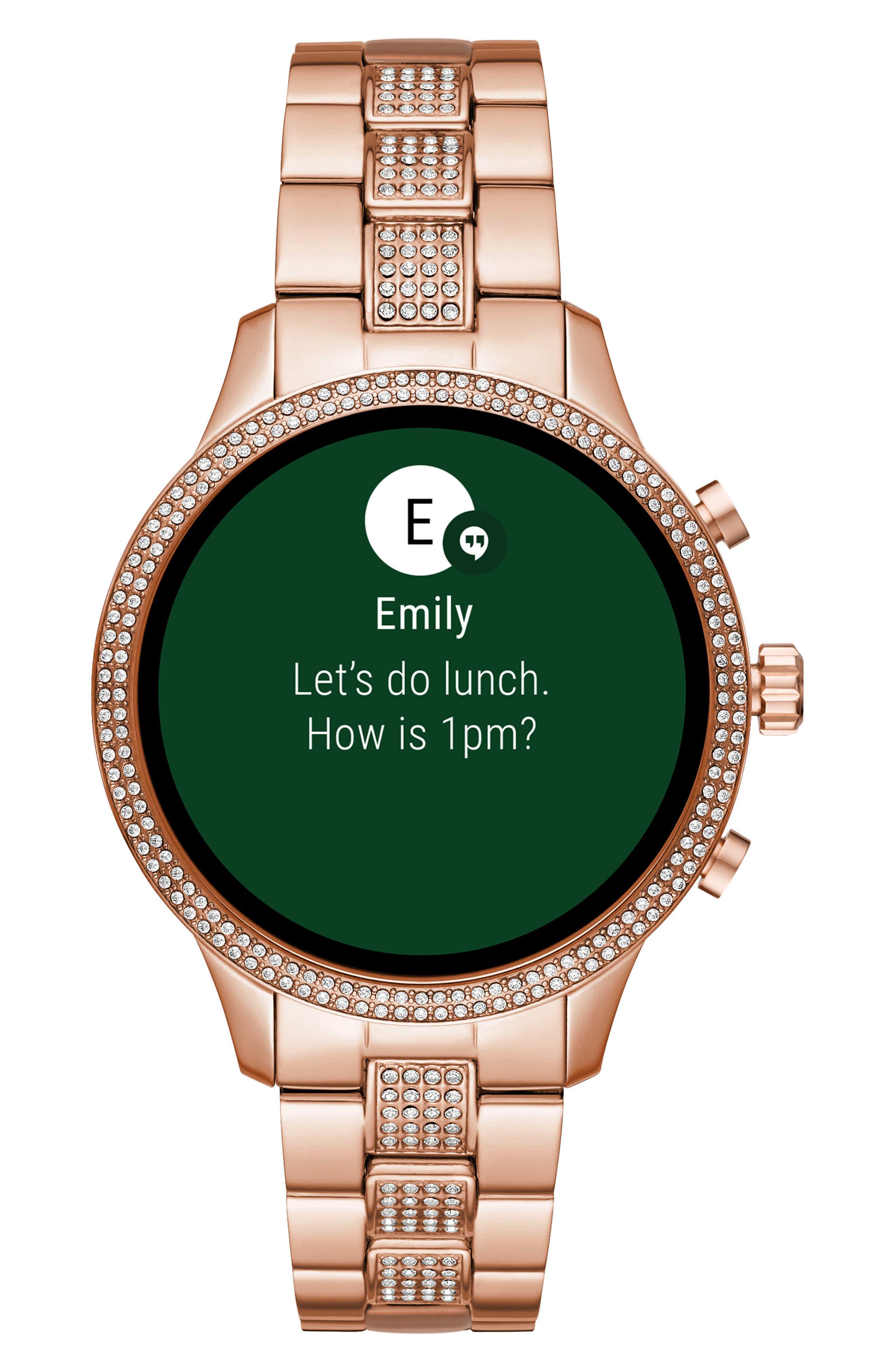 MICHAEL KORS, MICHAEL Michael Kors Access Runway Smart Bracelet Watch, 41mm, Alternate thumbnail 6, color, ROSE GOLD